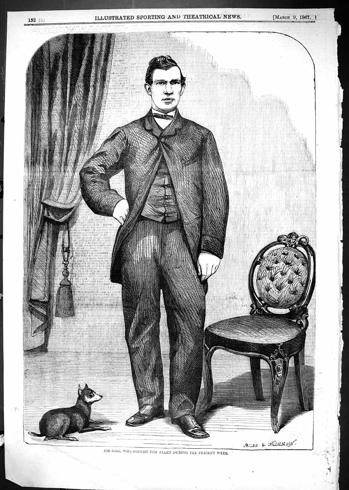[Print 1867 Joe Goss Fought Tom Allen Sport Man Chair Pet Dog 152J506 Old Original]