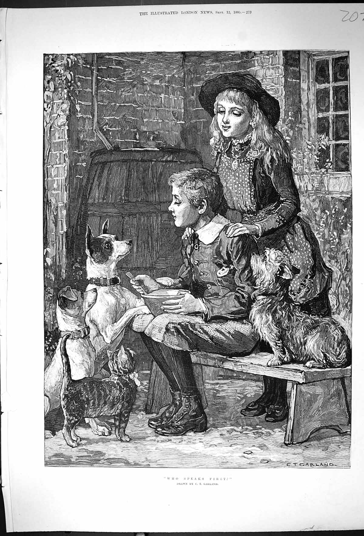 [Print 1885 Who Speaks First Young Girl Boy Pet Dogs Cats Garland 207J507 Old Original]