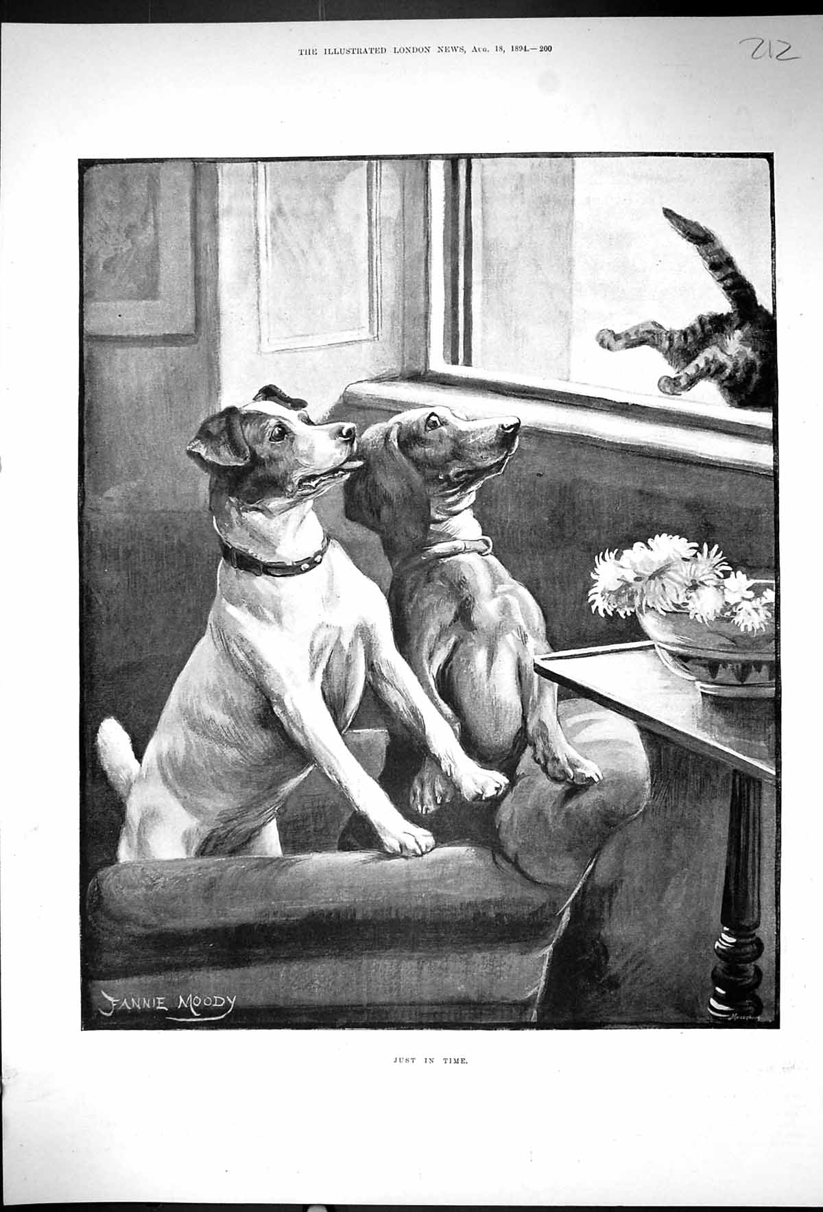 [Print 1894 Pet Dogs Cat Jumping Out Window Just In Time Fannie Moody 212J507 Old Original]