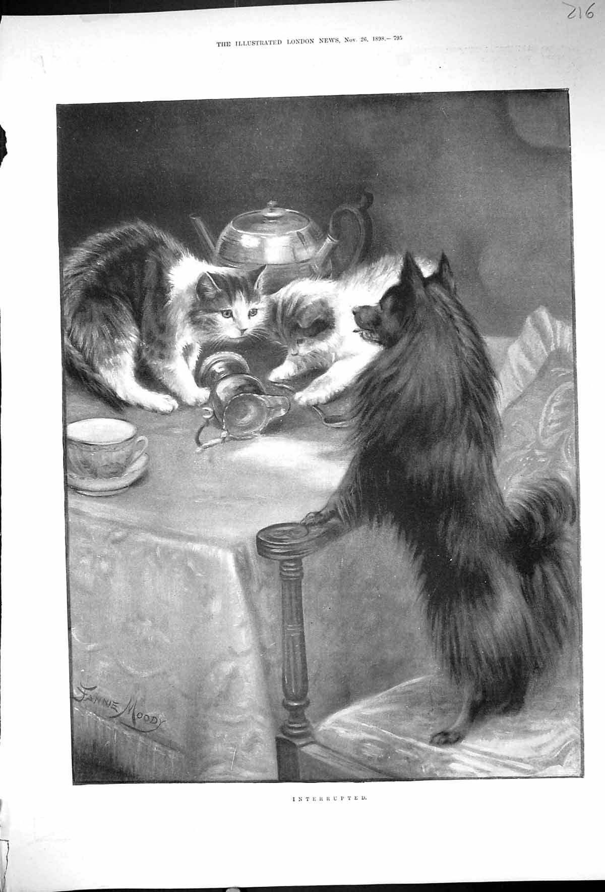 [Print 1898 Interrupted Cats Dinner Table Pet Dog Fannie Moody 216J507 Old Original]