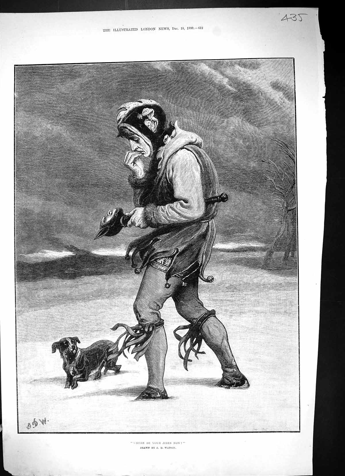 [Print 1880 Snow Scene Jester Costume Dog Where Be Your Jibes Now Watson 435J508 Old Original]