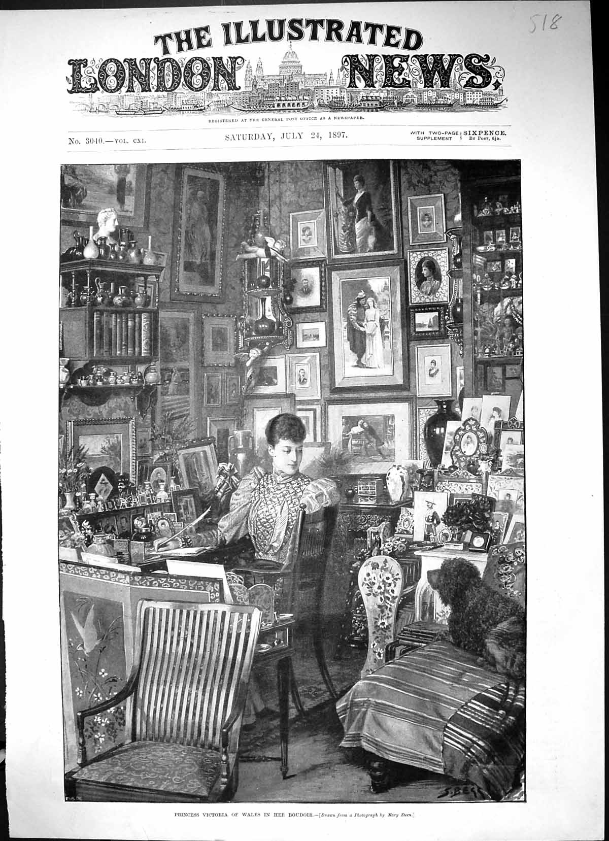 [Print 1897 Princess Victoria Wales Boudoir Pictures Dog Chairs 518J508 Old Original]