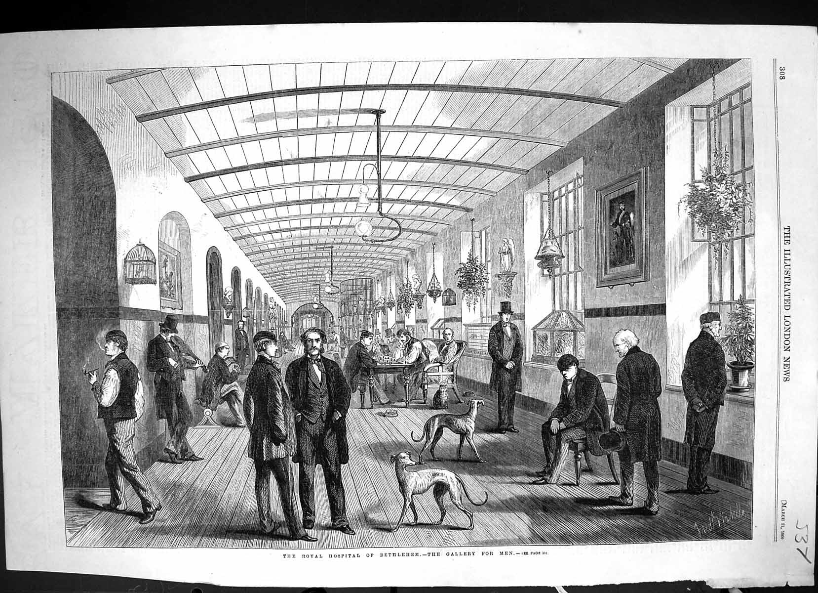 [Print 1860 Royal Hospital Bethlehem Gallery Men 537J508 Old Original]