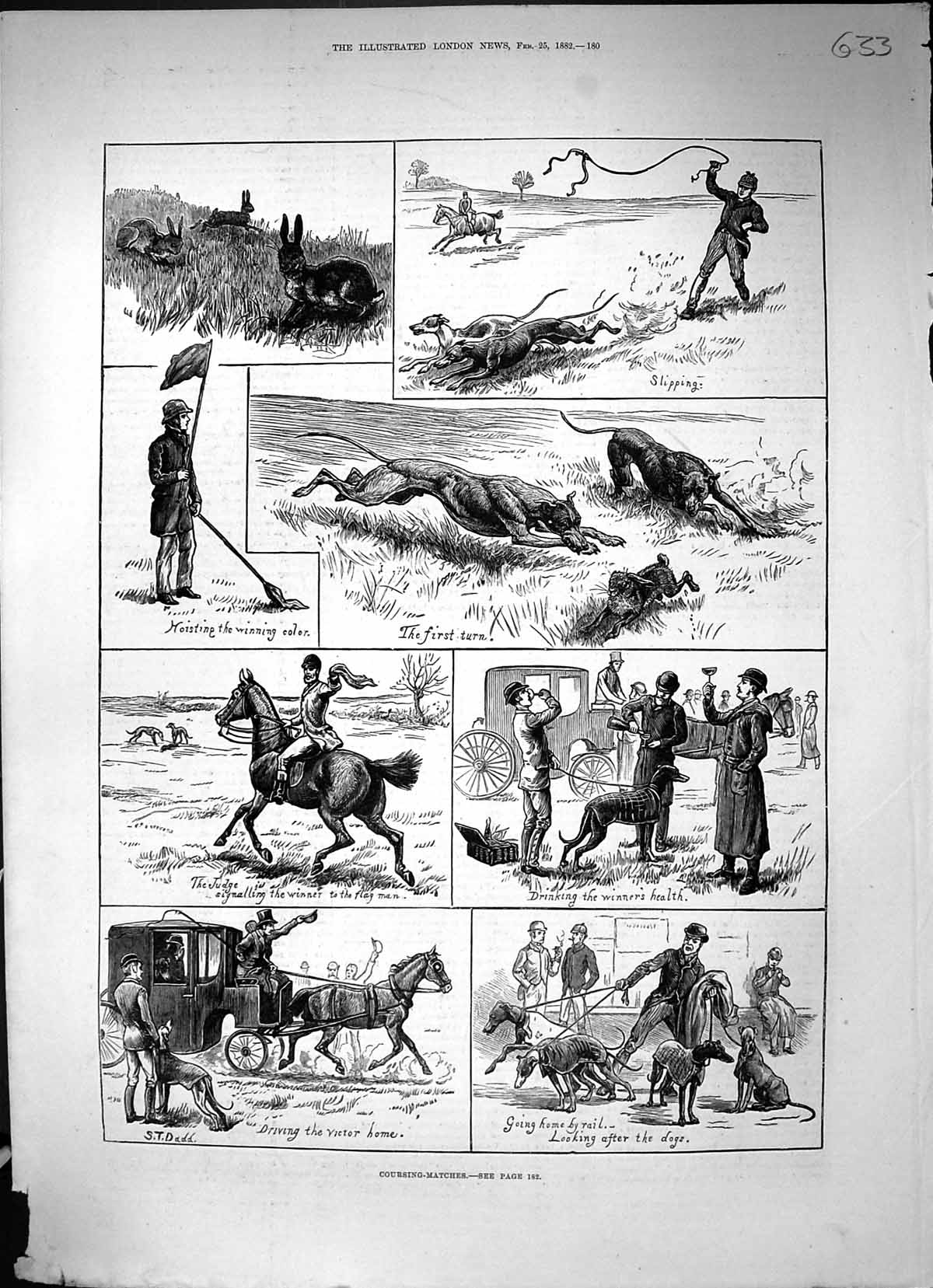 [Print 1882 Hare Coursing Matches Horses Sport Hounds Dogs 633J508 Old Original]