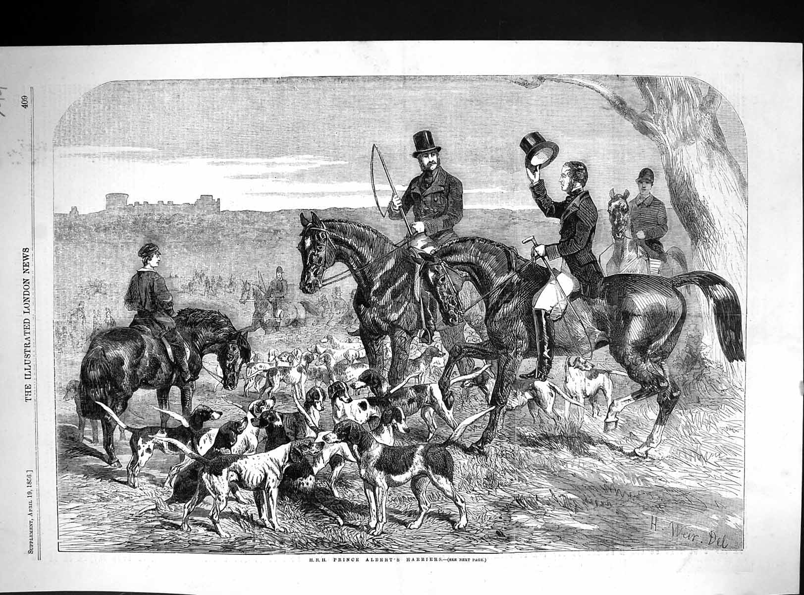 [Print 1856 H.R.H. Prince Albert Harriers Hounds Dogs Horses Hunting 744J509 Old Original]
