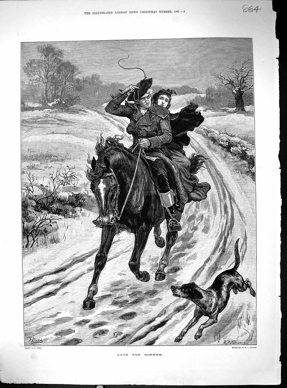 [Print Man Lady Riding Horse Country Lane Dog Snow Late For Dinner 1881 864J509 Old Original]