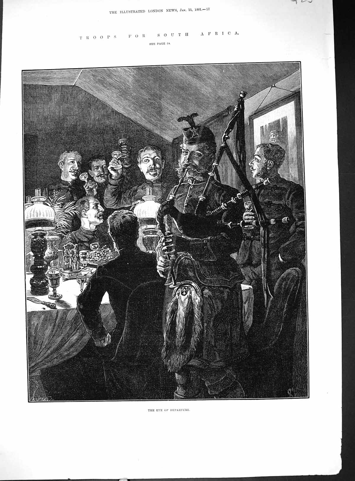 [Print 1881 War Soldiers Troops South Africa Eve Departure Scottish Army 925J509 Old Original]