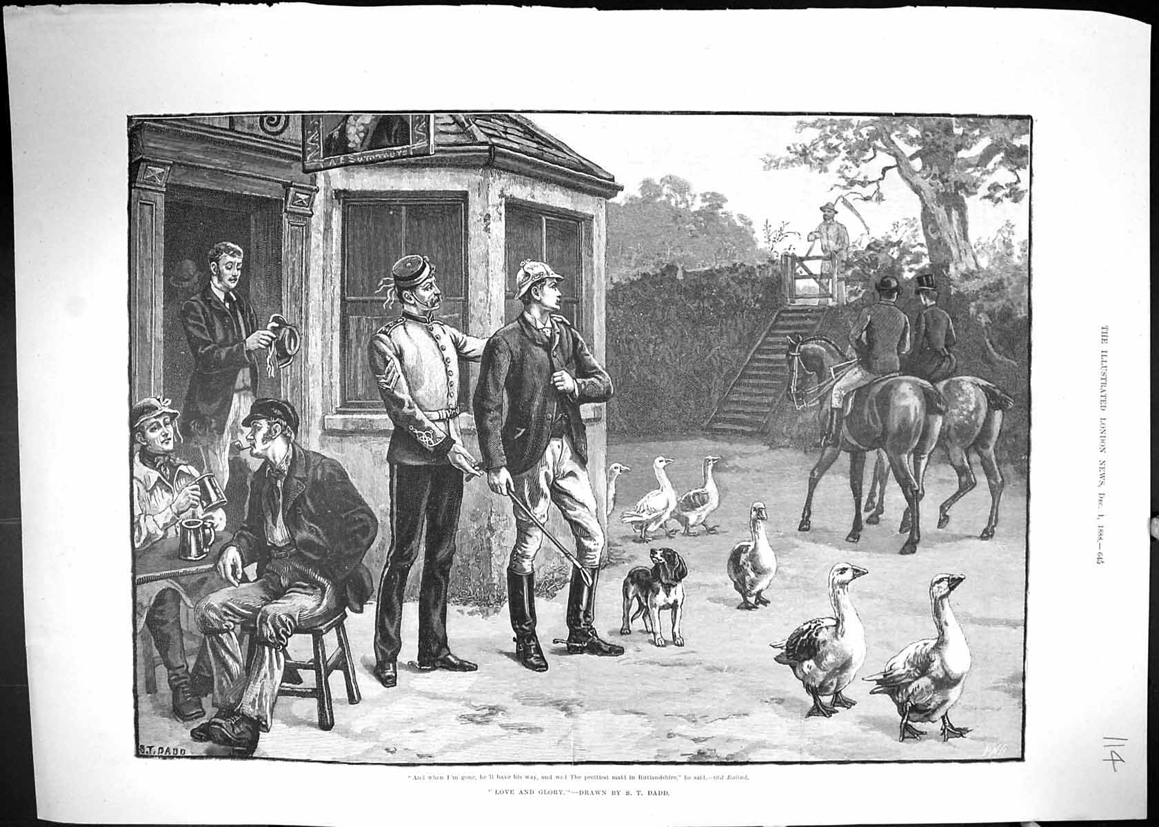 [Print 1888 Love And Glory Hunting Horses Public Inn Geese Dog Soldier 114J510 Old Original]