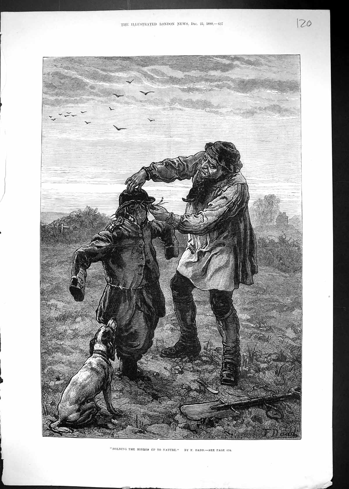[Print 1880 Agriculture Farmer Scarecrow Dog Nature Dadd 120J510 Old Original]