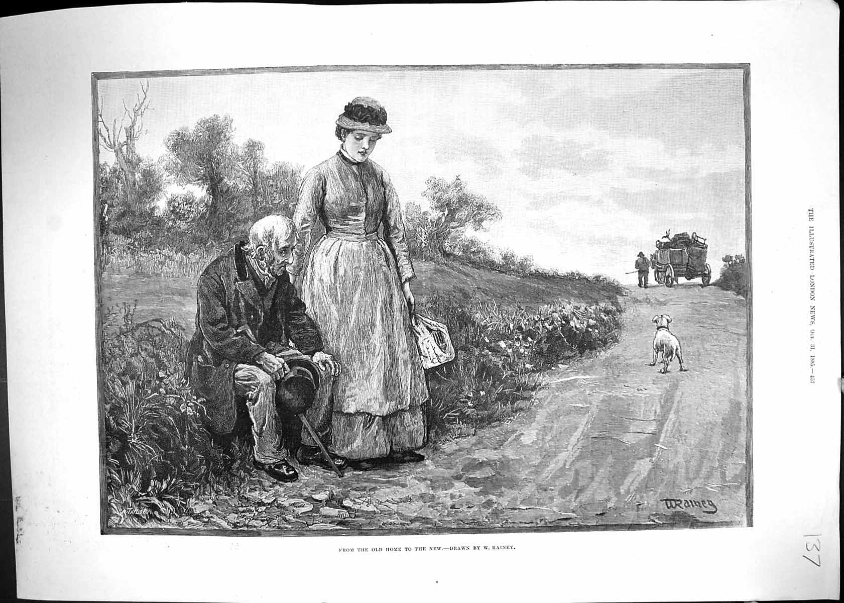 [Print 1885 Man Moving Home Country Lane Horse Dog Cart 137J510 Old Original]