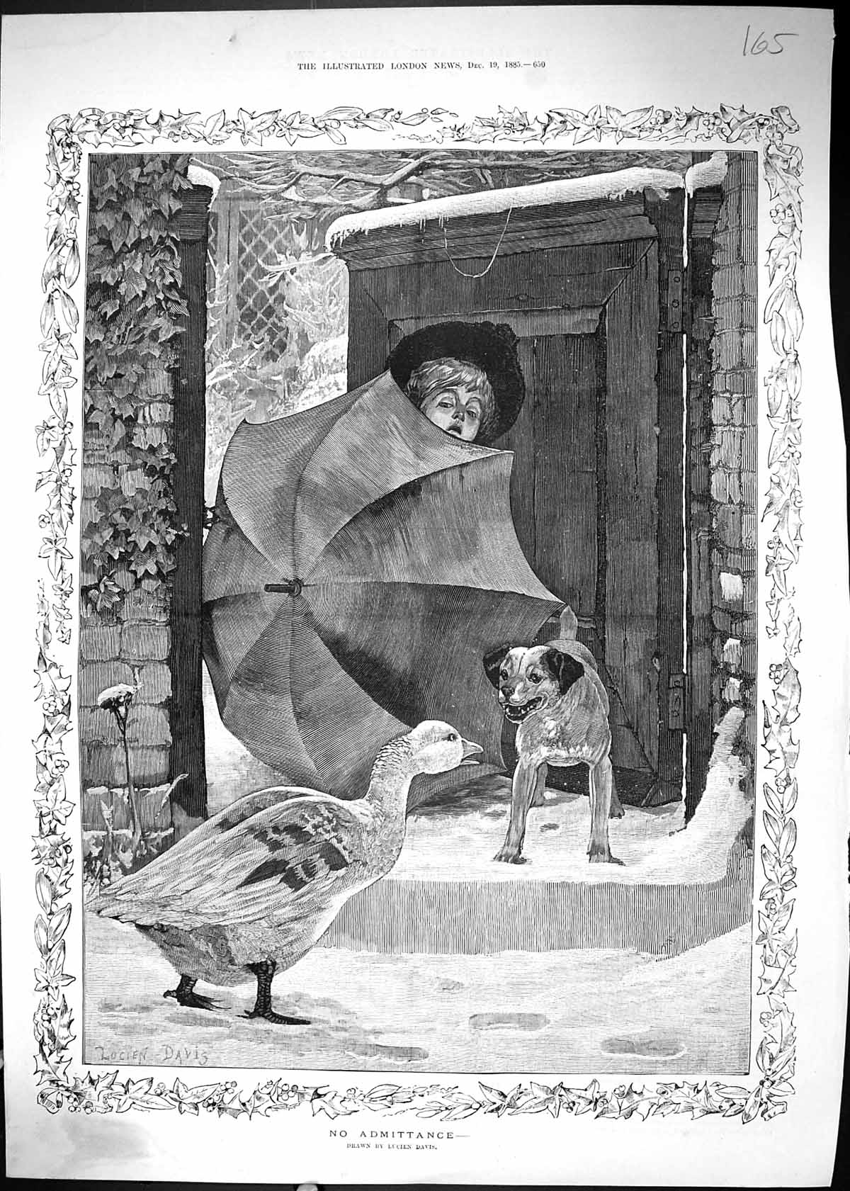 [Print No Admittance Young Boy Umbrella House Gate Goose Dog 1885 165J510 Old Original]