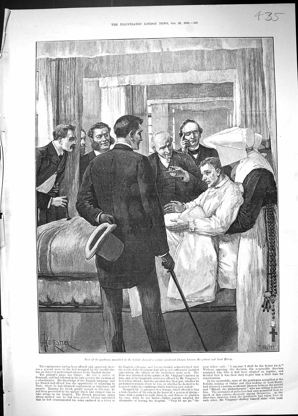 [Print 1889 Men Assembled Hospital Bed Sick Man Likeness Lord Harry 435J511 Old Original]