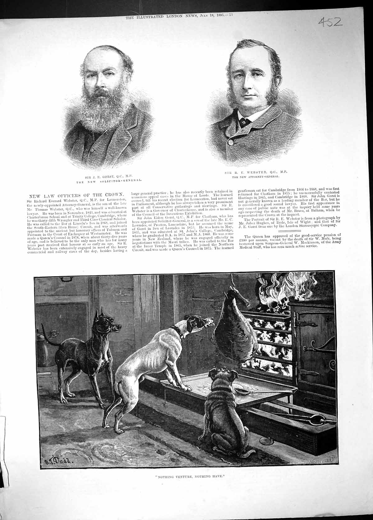 [Print 1885 Gorst Webster Law Solicitor Attorney Pet Dogs Fire Cooking D 452J511 Old Original]