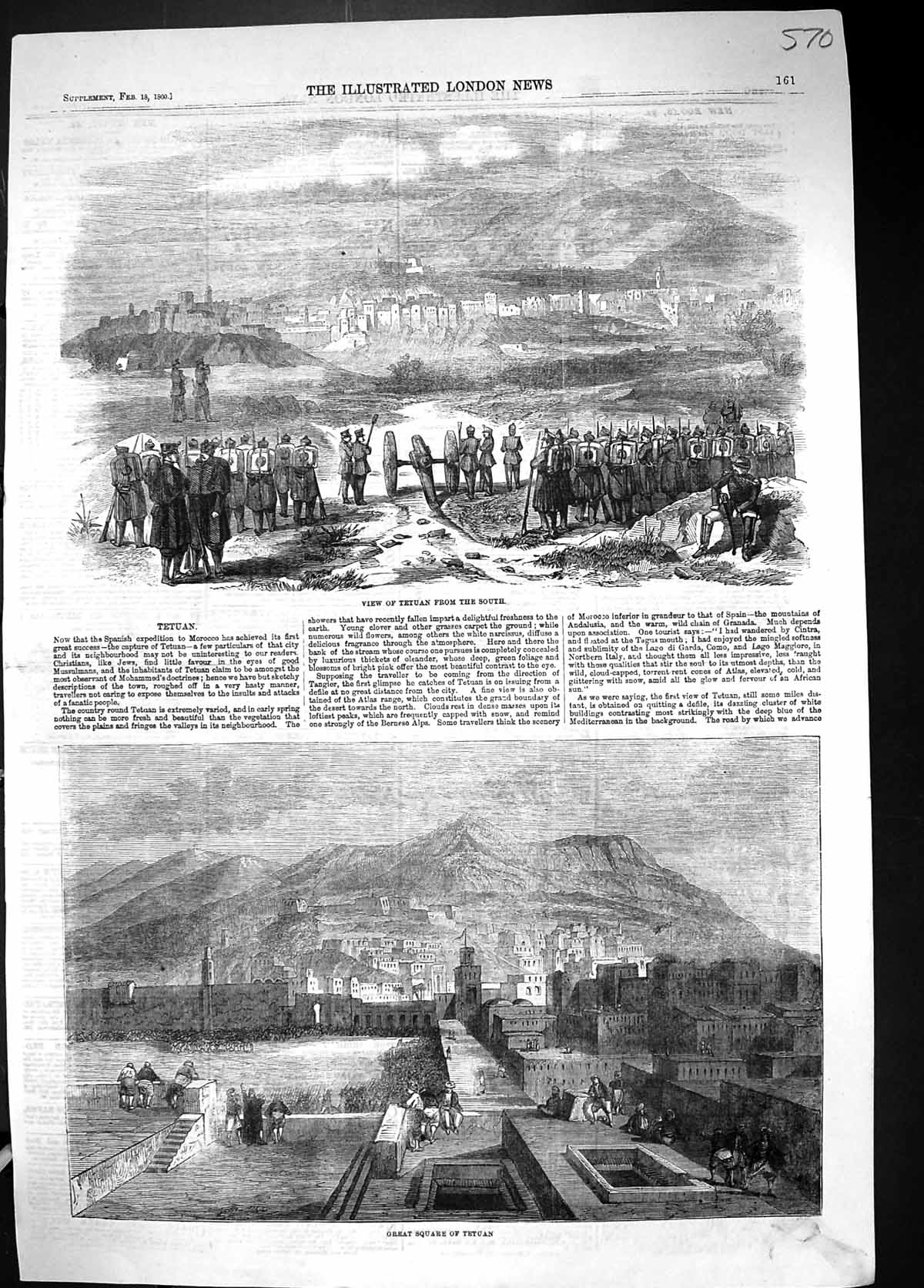 [Print 1860 View Tetuan Great Square Morocco North Africa 570J511 Old Original]