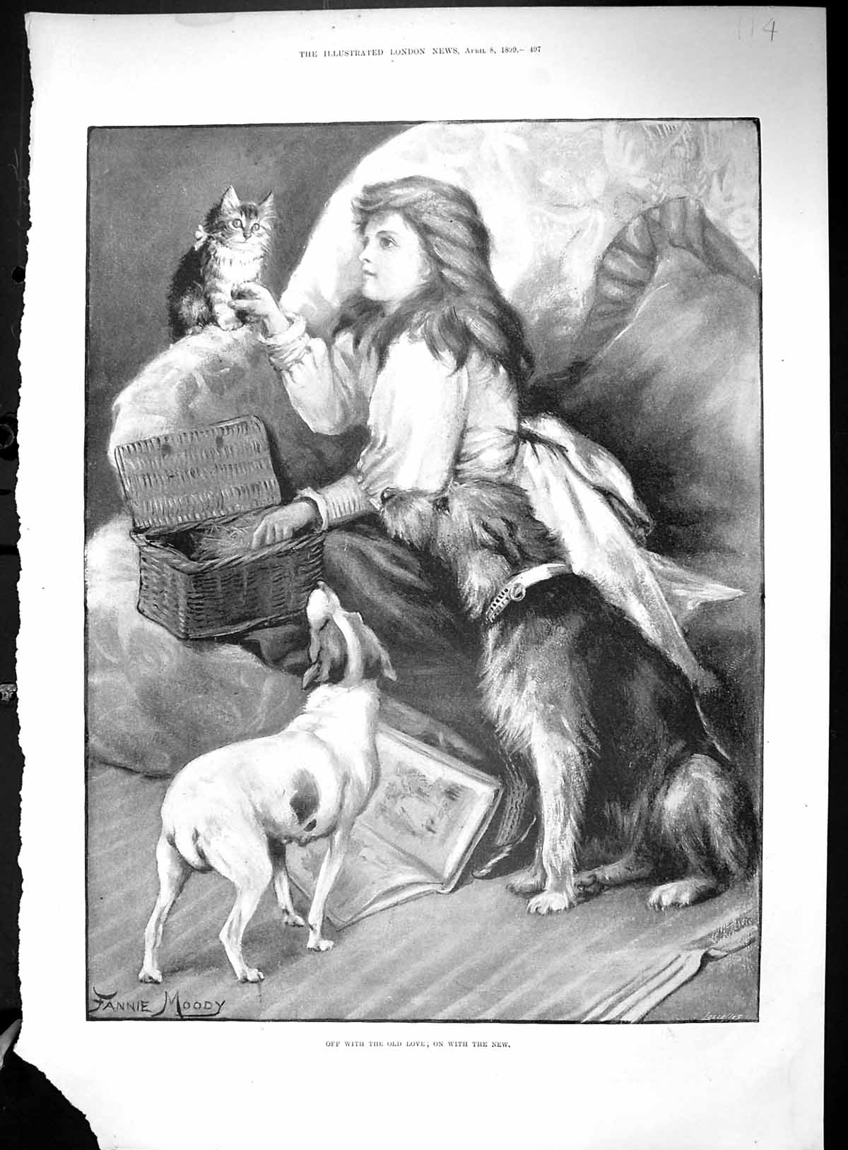 [Print Young Girl Pets Dogs Kitten Cat Winchester Cathedral 1899 Statue 114Rj513 Old Original]