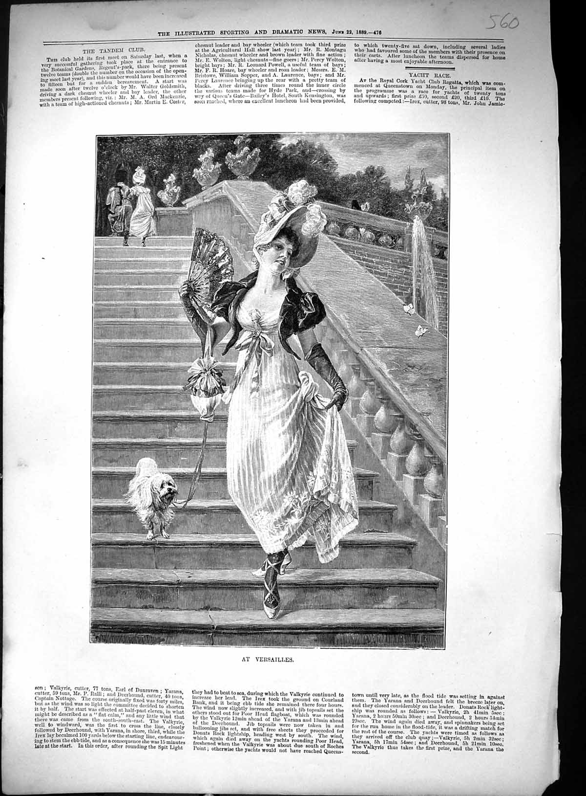 [Print 1889 Beautiful Lady Puppy Dog Skipping Down Steps Versailles Fran 560J514 Old Original]