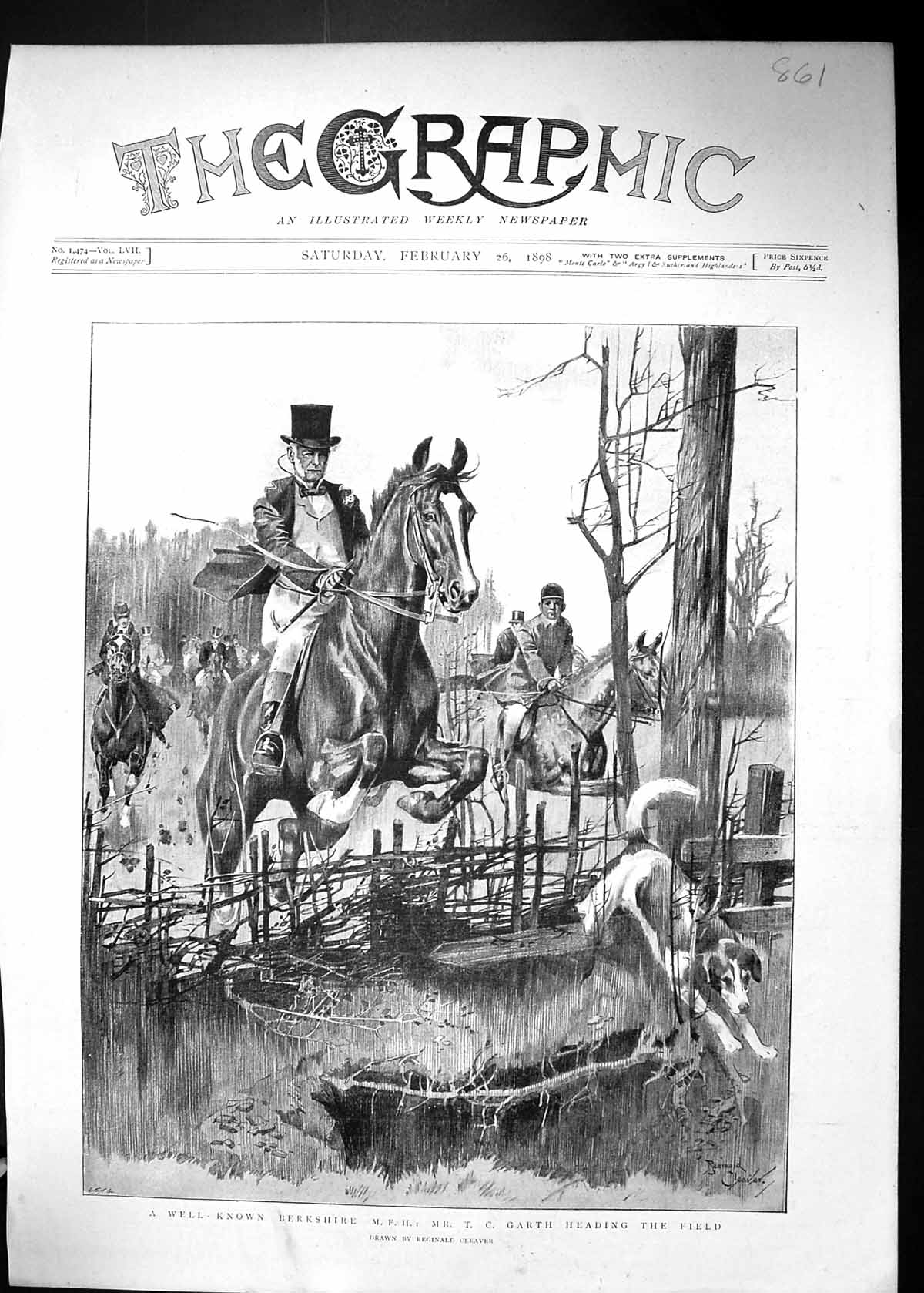 [Print 1898 Berkshire Hunting Mr. Garth Huntsman Hounds Dogs Sport 861J515 Old Original]
