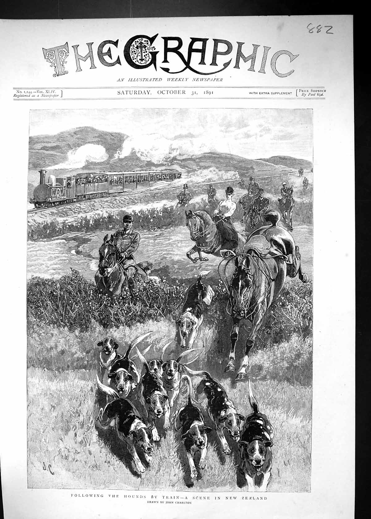 [Print 1891 New Zealand Hunting Hounds Dogs Horses Huntsmen Charlton 882J515 Old Original]