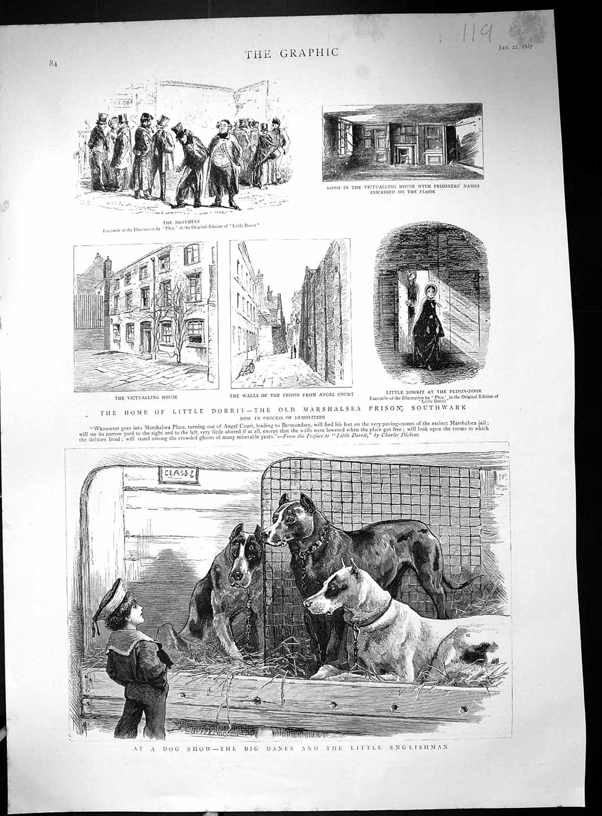 [Print 1887 Dog Show Danes Home Little Dorrit Marshalsea Prison Southwar 119J516 Old Original]