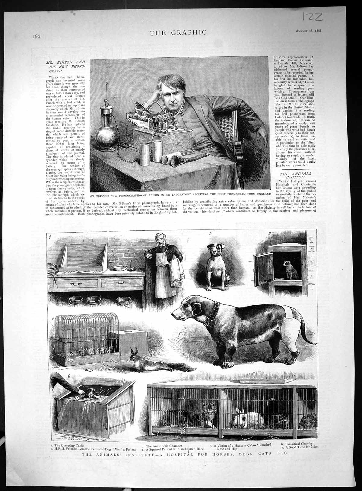 [Print 1888 Edison Phonograph Laboratory Hospital Horses Dogs Animals 122J516 Old Original]