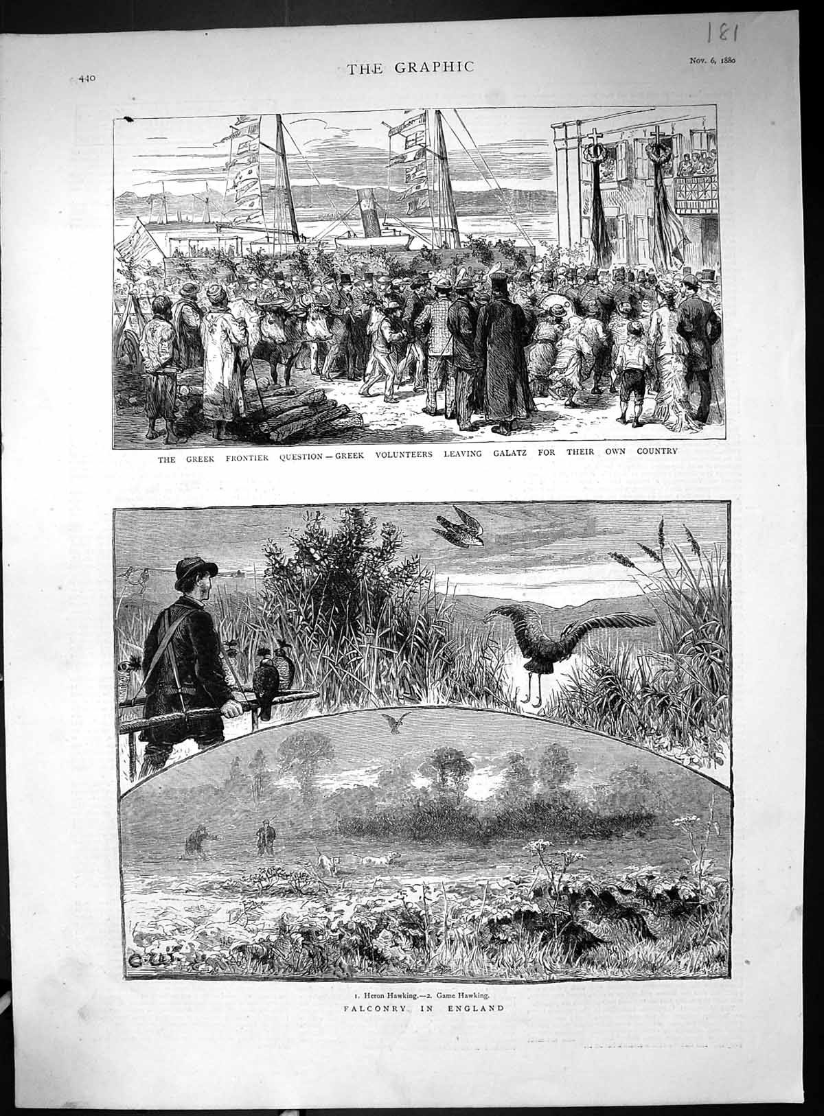 [Print 1880 Falconry England Heron Hawking Birds Greek Volunteers Galatz 181J516 Old Original]