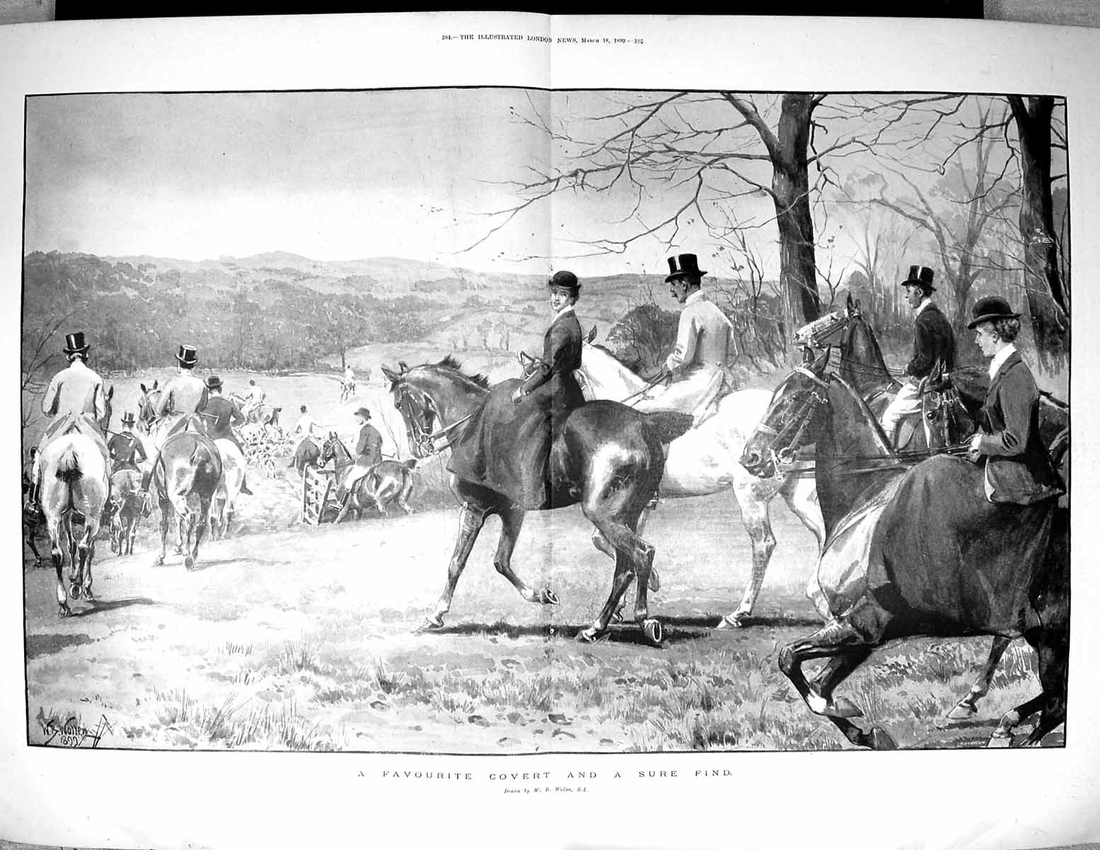 [Print 1899 Countryside Hunting Horses Hounds Dogs Wollen Fine Art 491Tj522 Old Original]