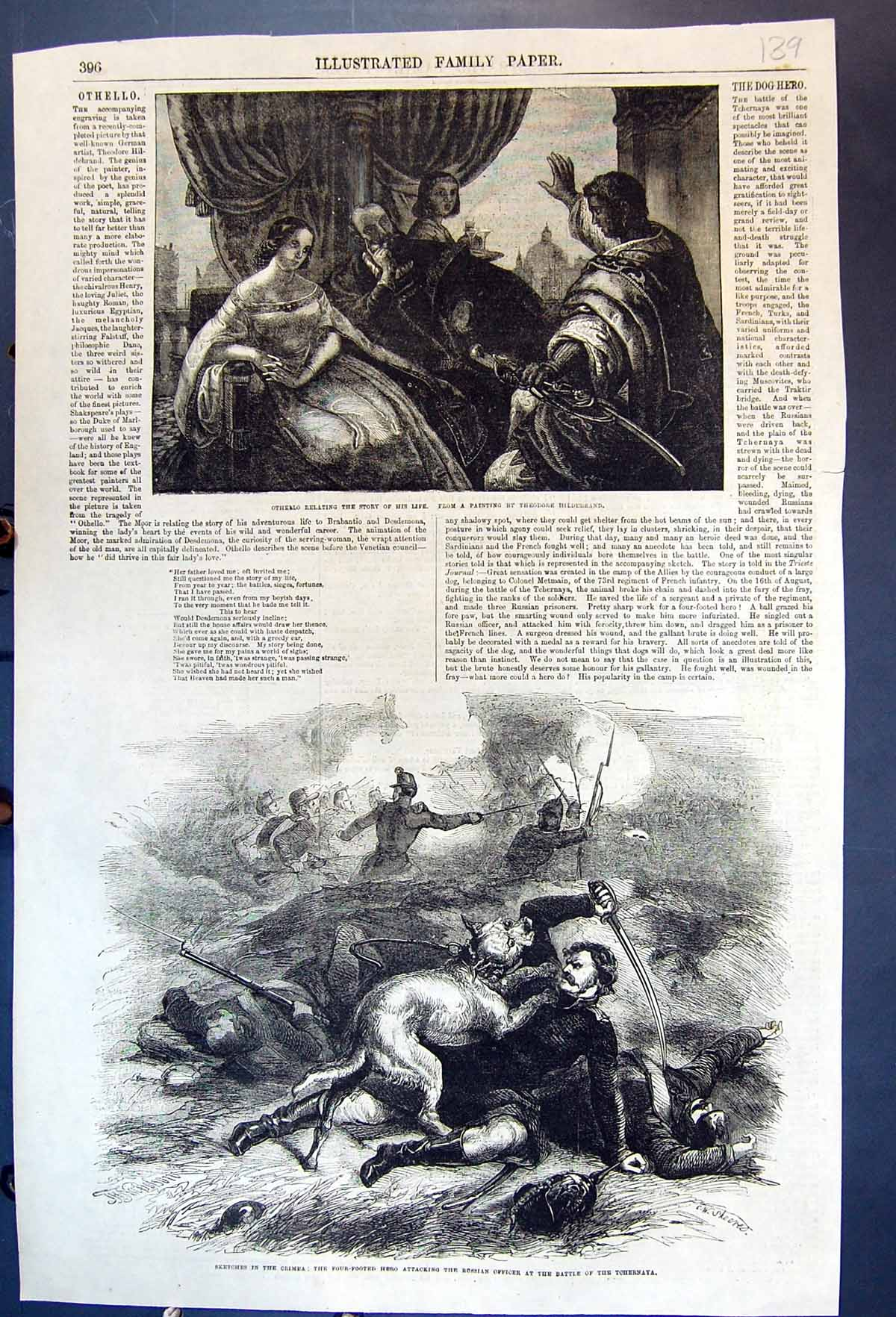[Print Othello Relating Story Dog Attacking Russian Soldier Crimea 1855 139J614 Old Original]