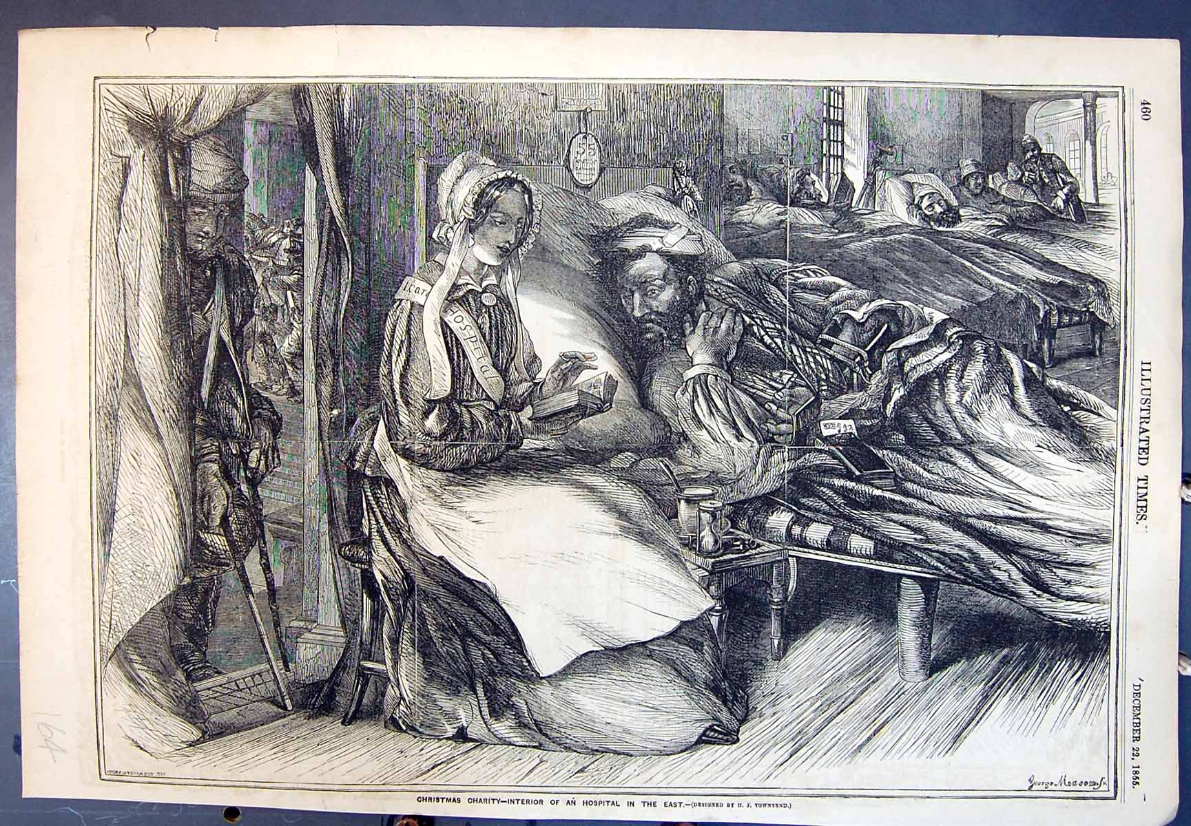 [Print Christmas Charity Interior A Hospital In The East 1855 164J616 Old Original]