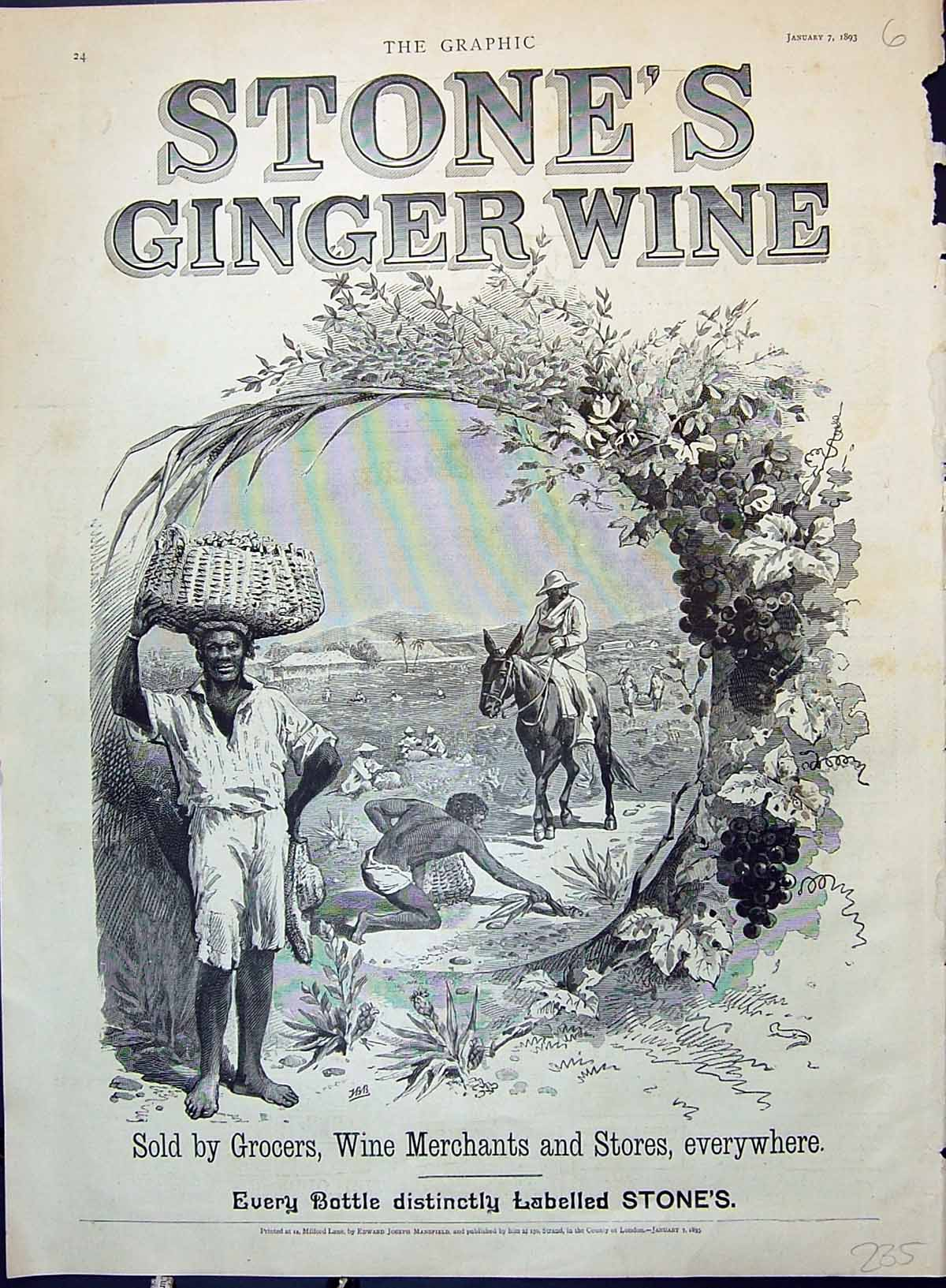 [Print Advertisement 1893 Stone'S Ginger Wine Native Men Africa Grapes 235J628 Old Original]