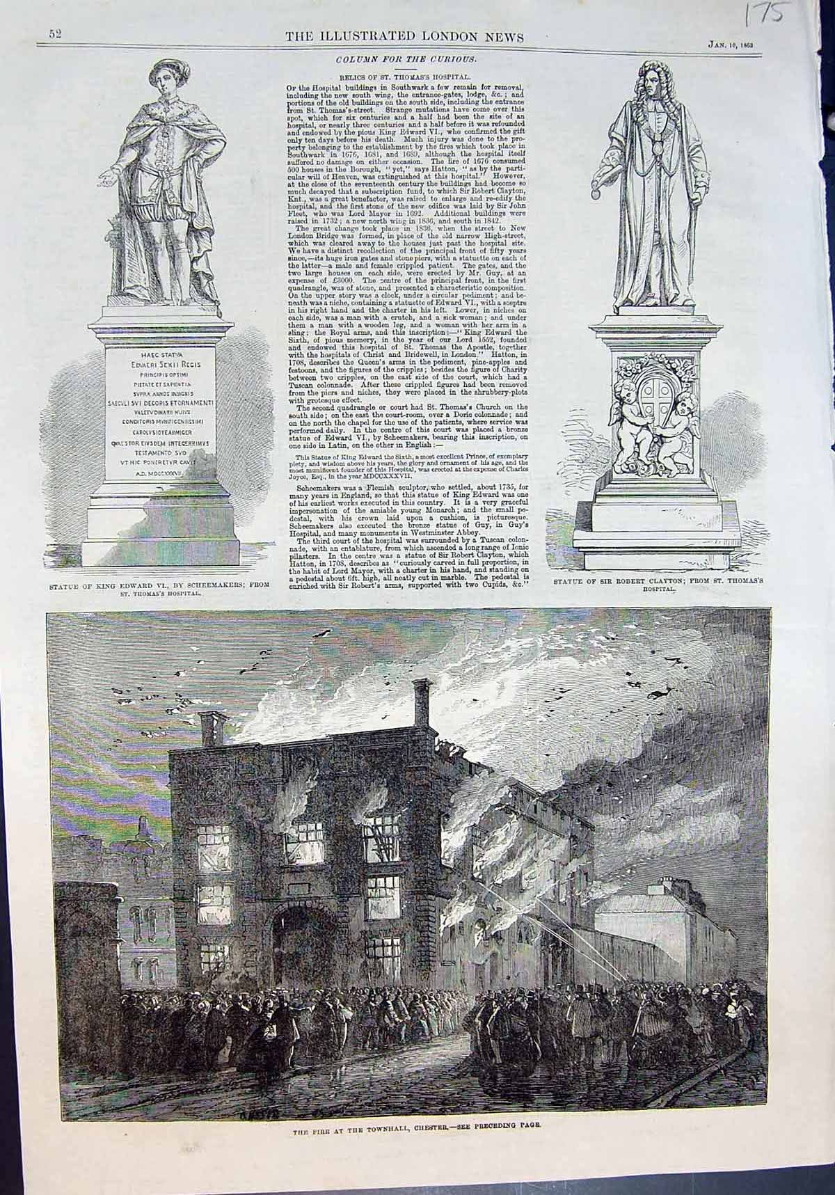 [Print Fire Townhall Chester St Thomas Hospital Statue King Edward Vi 18 175J642 Old Original]