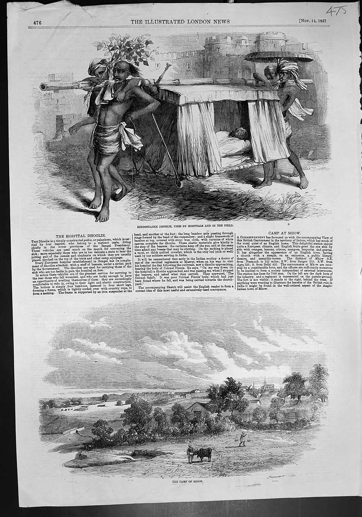 [Print Camp Mhow Hindostanee Dhoolie Used Hospitals Field 1857 475J643 Old Original]