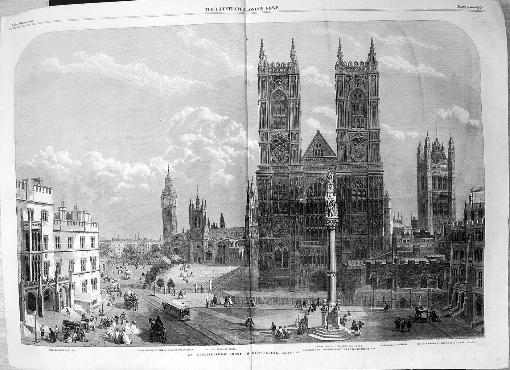 [Print Westminster Abbey Clock Tower Houses Parliament Hospital 1862 335J645 Old Original]
