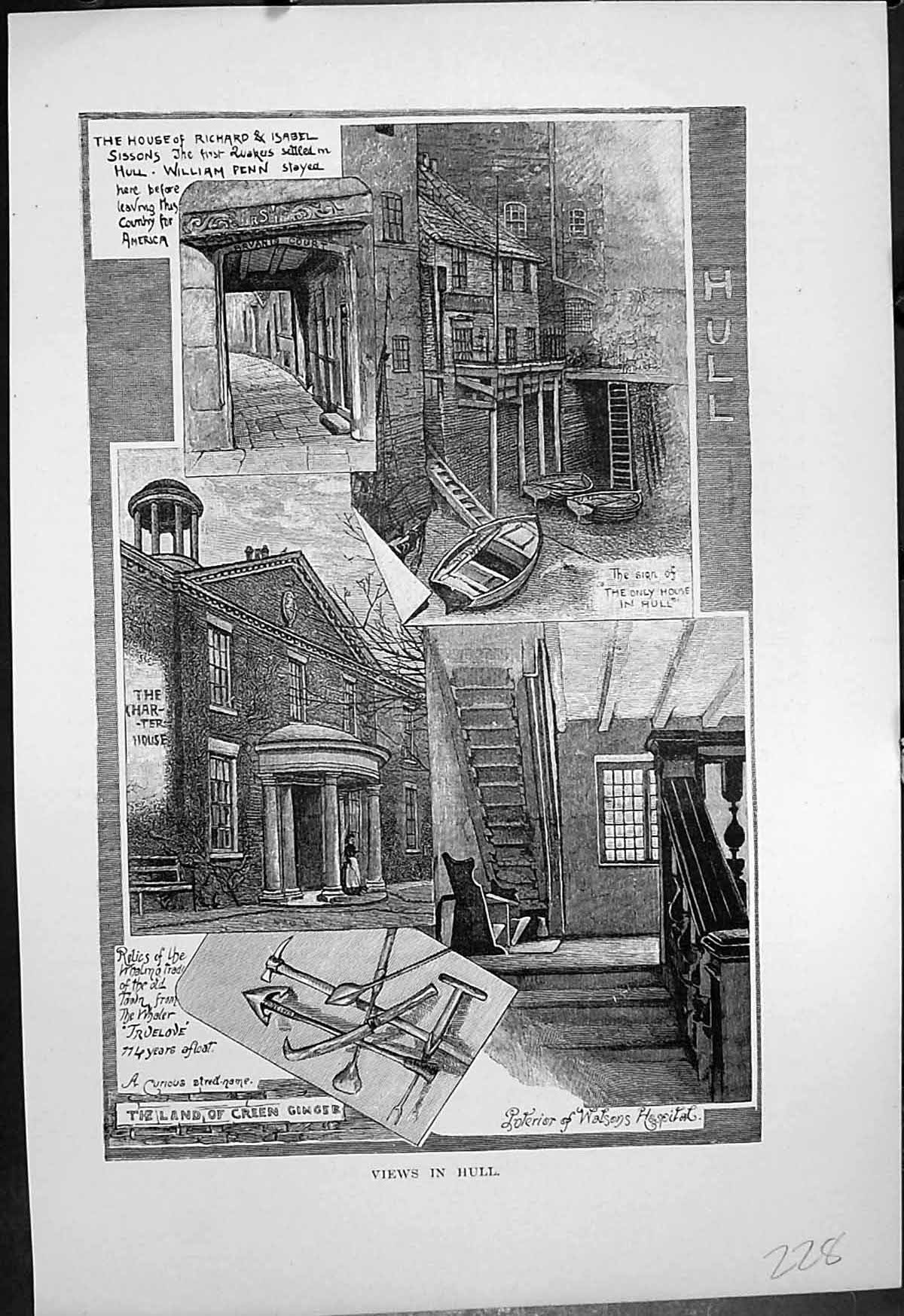 [Print Hull House Richard Isabel Sissons Charter House Watsons Hospital 228J647 Old Original]