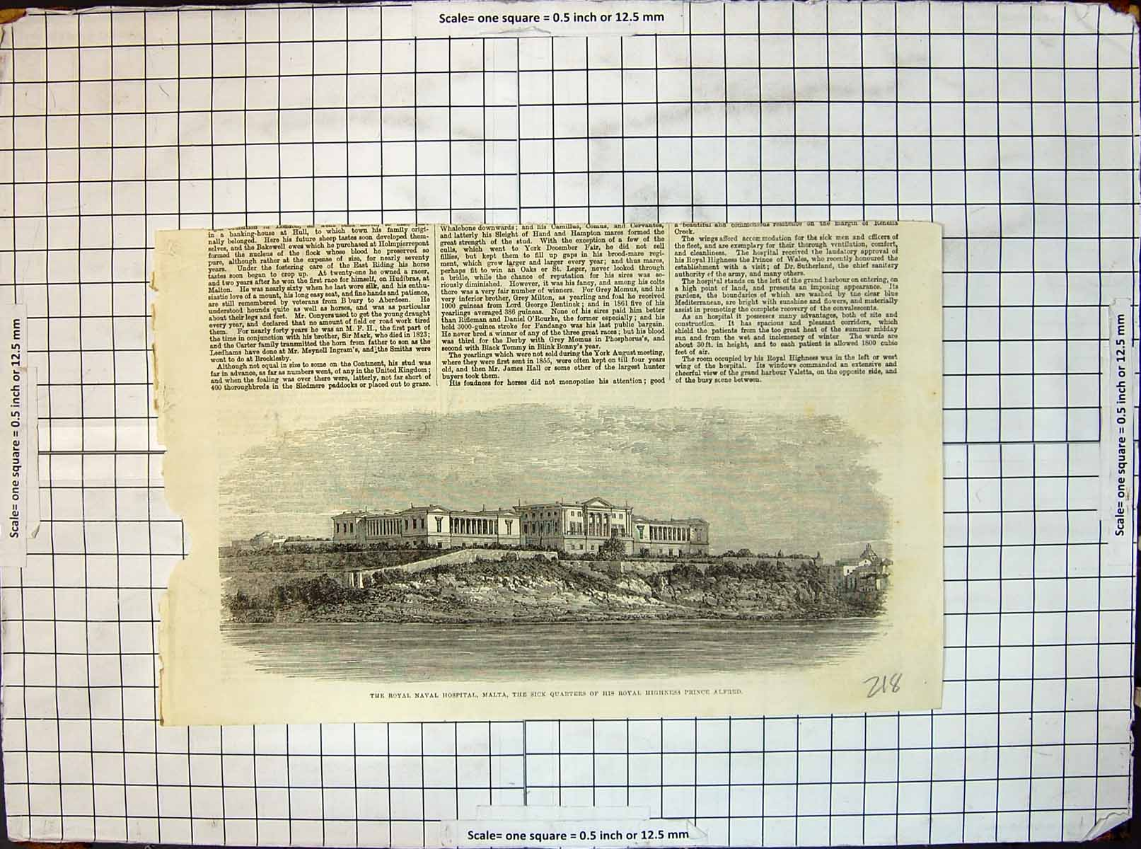 [Print Royal Naval Hospital Malta Sick Quarters H R H Prince Alfred 218J648 Old Original]