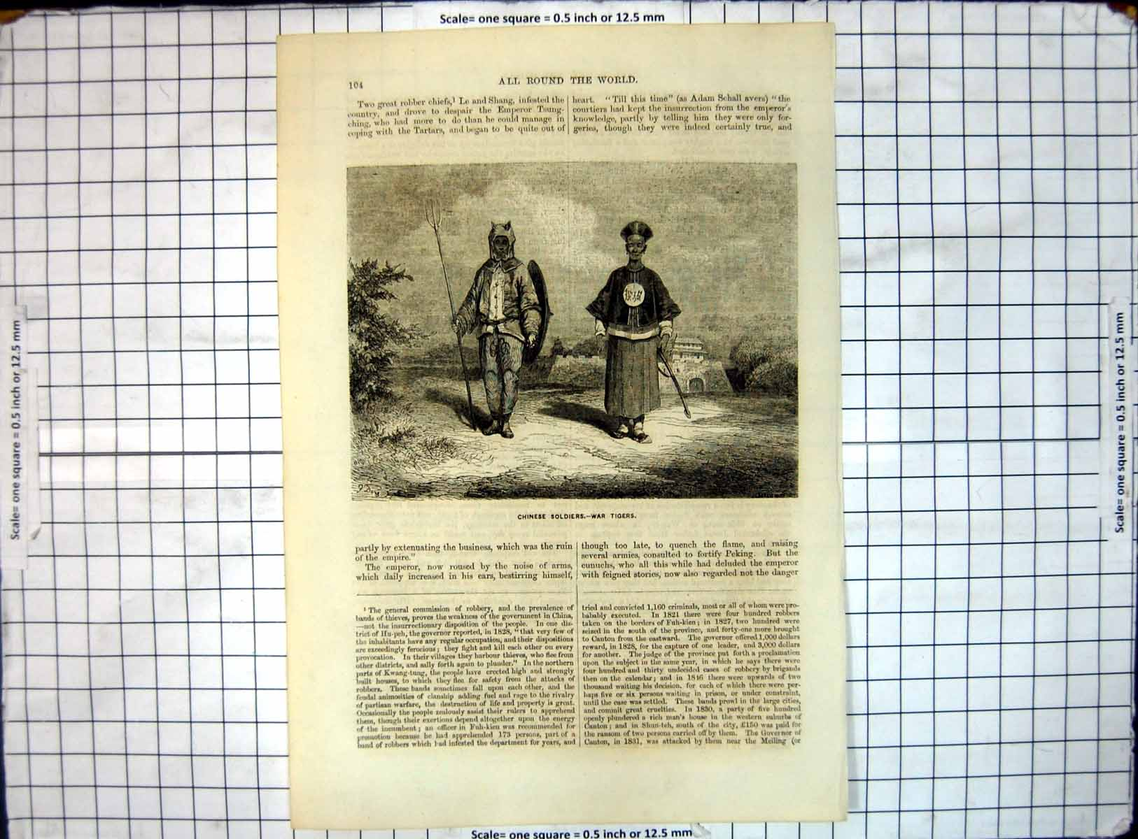 [Print All Round World Chinese Soldiers War Tigers 191J656 Old Original]
