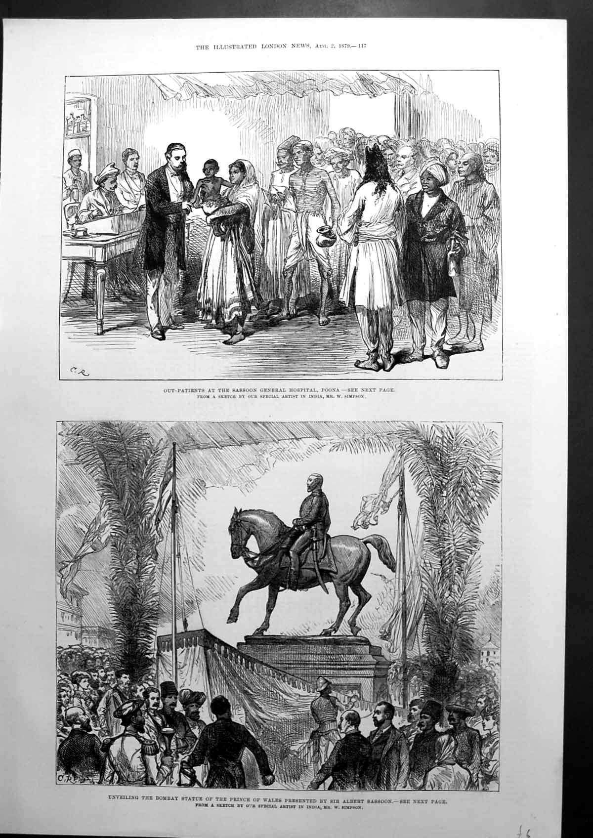 [Print Out-Patients Sassoon General Hospital Poona Bombay Statue 1879 287J669 Old Original]