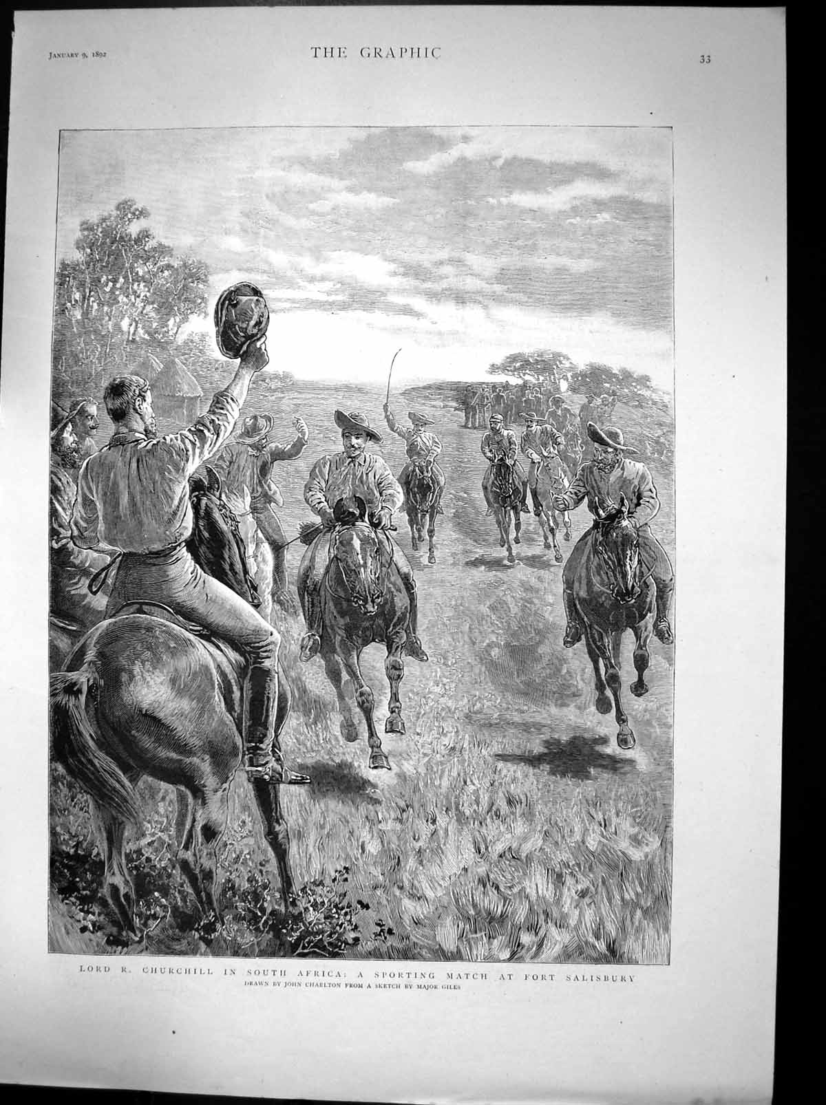[Print Lord R Churchill South Africa Fort Salisbury Sport Match 1892 189J675 Old Original]