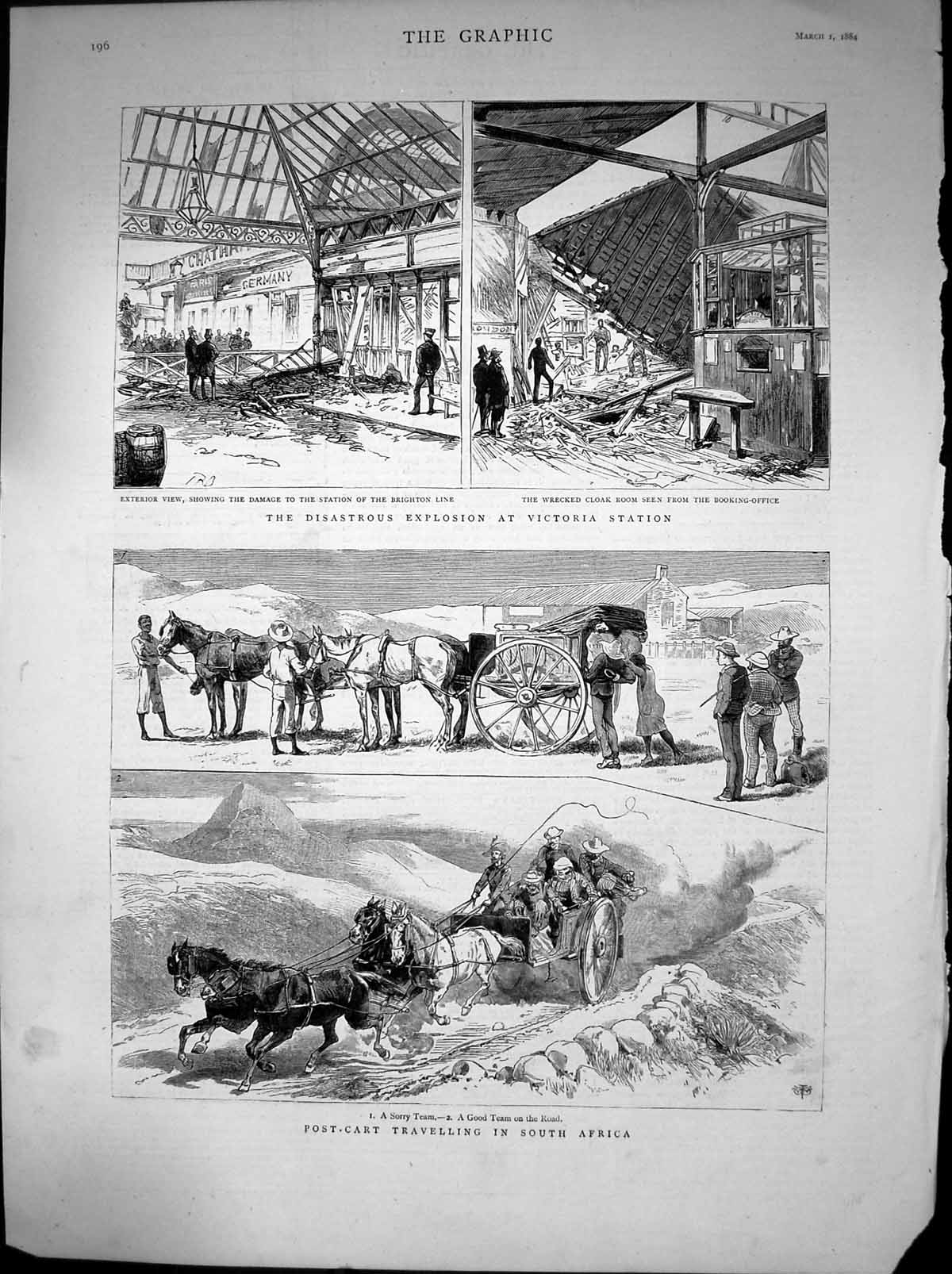 [Print Explosion Victoria Station Post-Cart Travel South Africa 1884 198J675 Old Original]