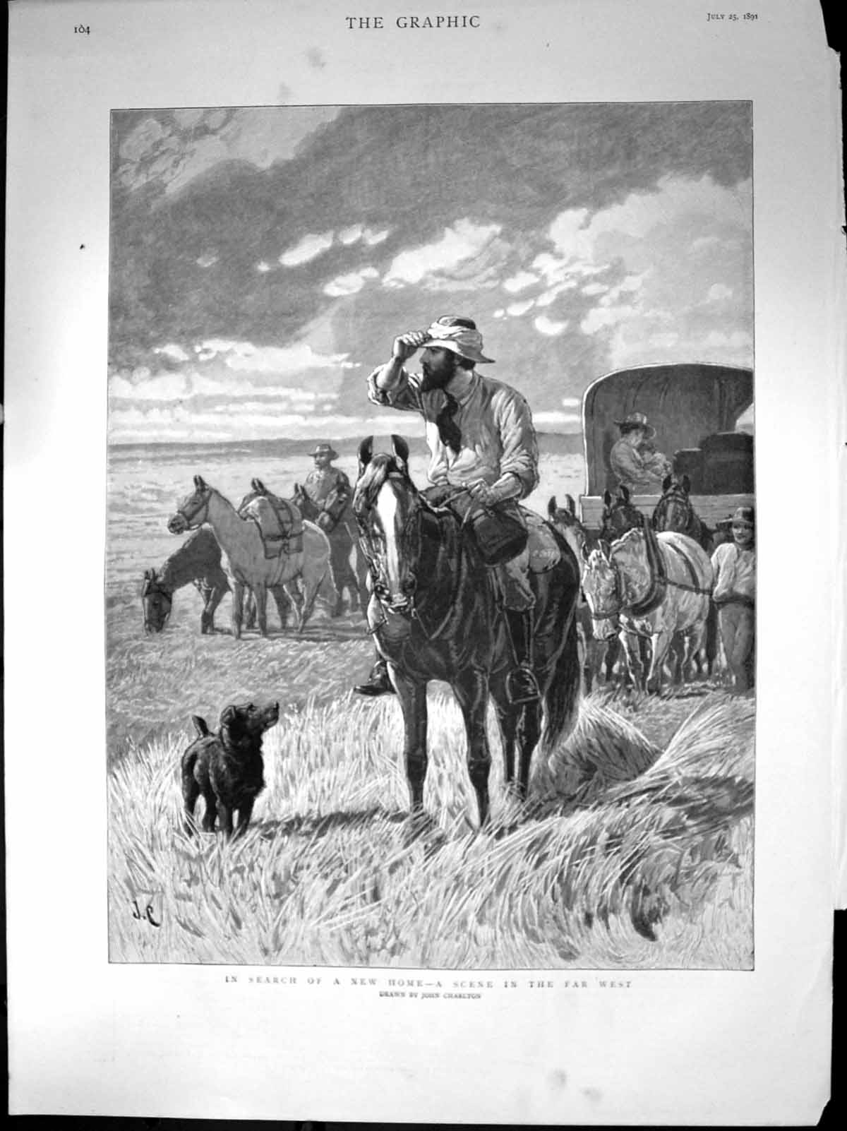 [Print Search New Home Scene Far West Family Horse Waggon Dog 1891 495J676 Old Original]