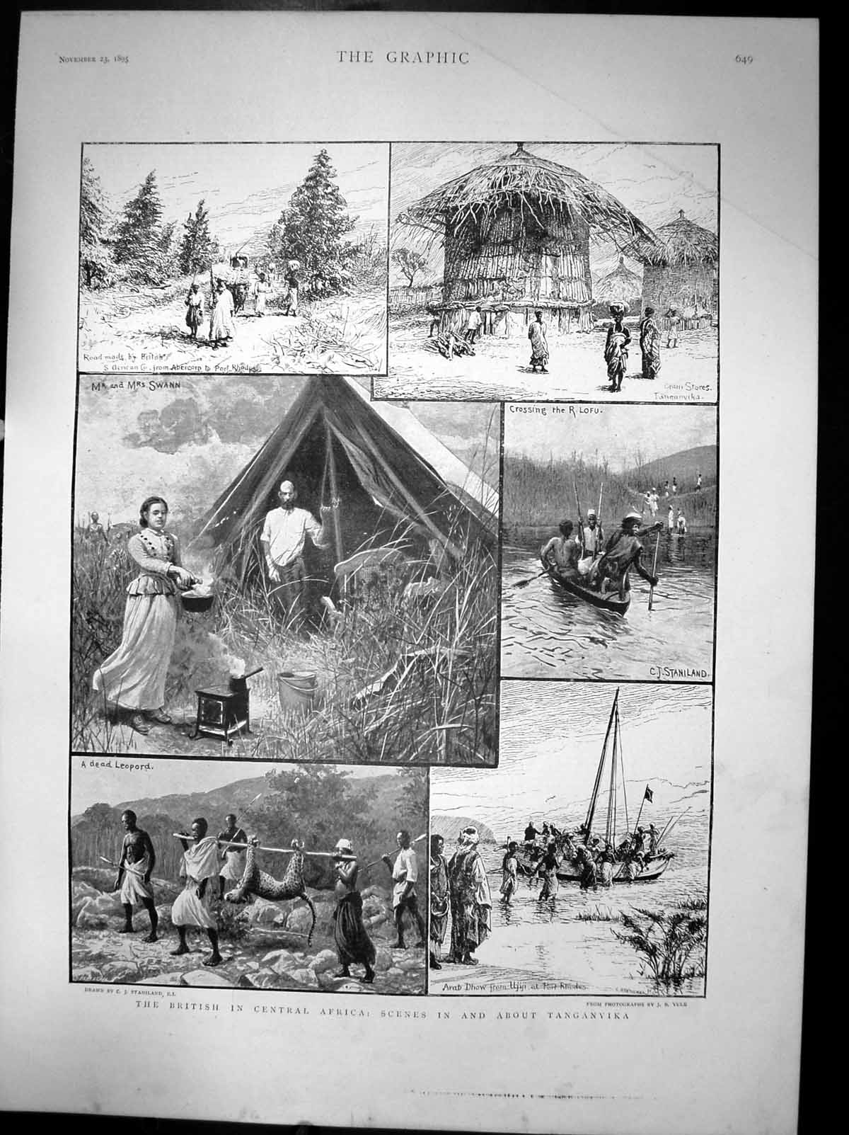 [Print British In Central Africa Scenes In And About Tanganyika 1895 299J677 Old Original]
