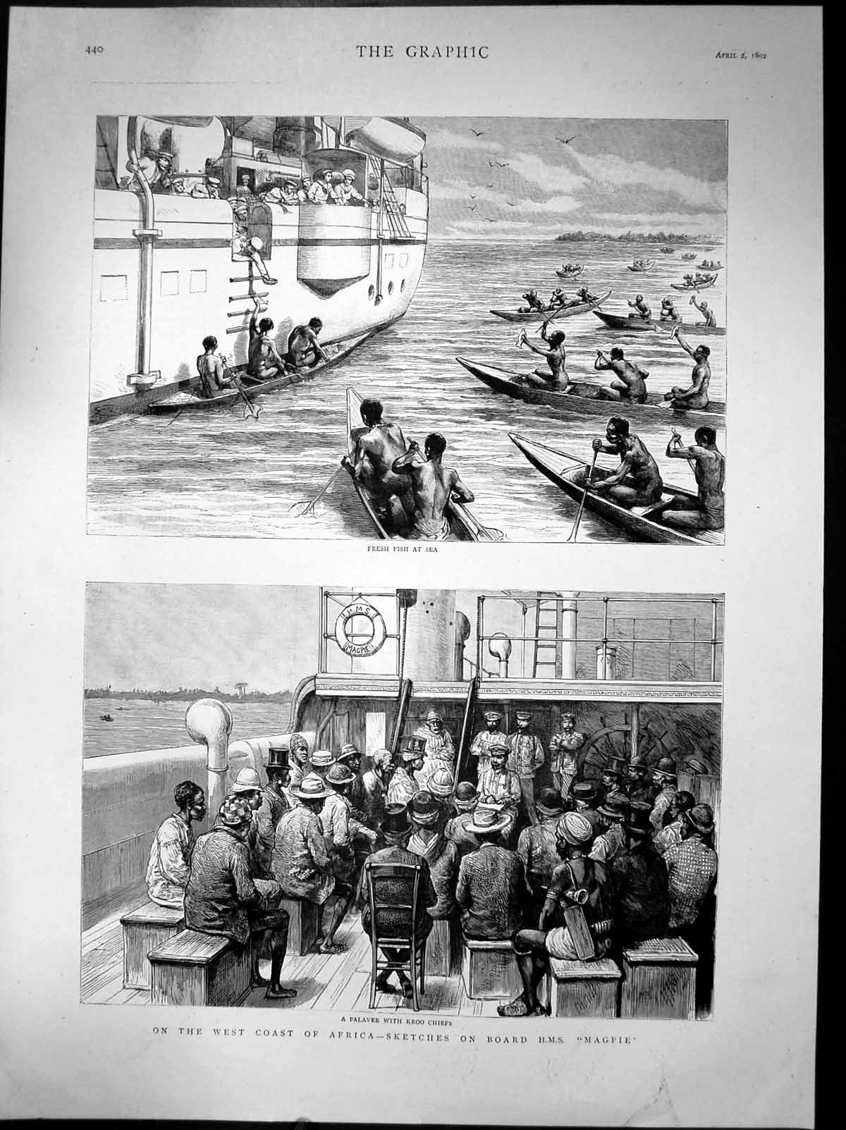 [Print On West Coast Africa Sketches On Hms Magpie Fishing Sea 1892 330J677 Old Original]