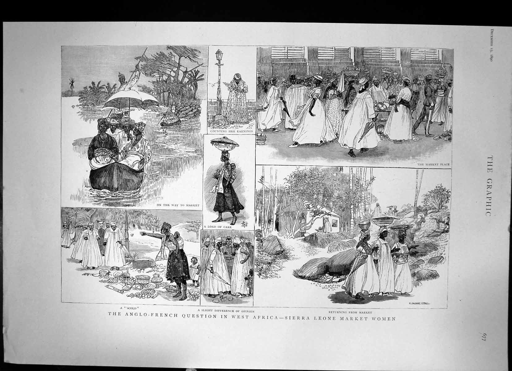 [Print Anglo-French Question In West Africa Sierra Leone Market 1890 401J678 Old Original]