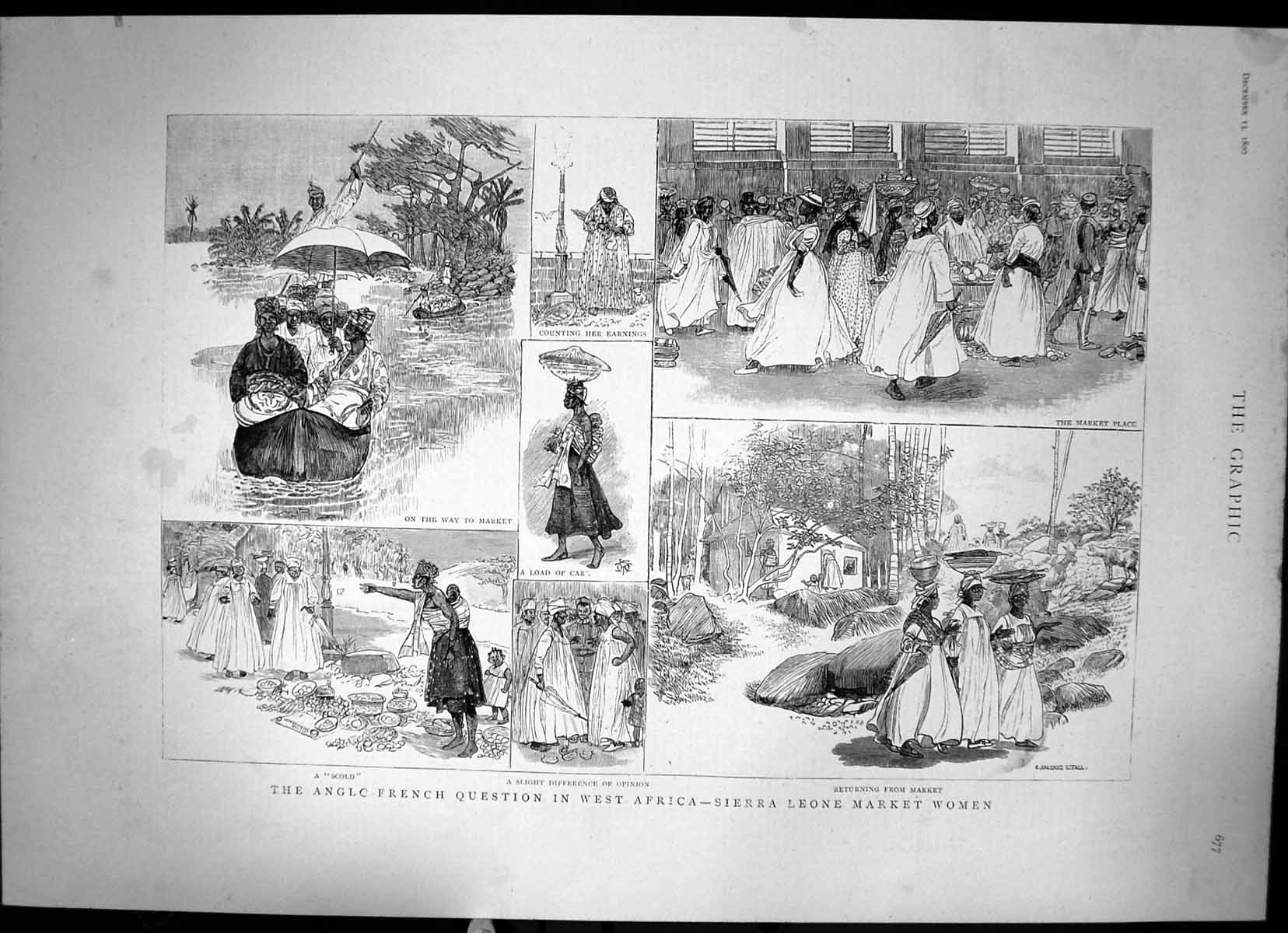 [Print Anglo-French Question In West Africa Sierra Leone Market 1890 2 407J678 Old Original]