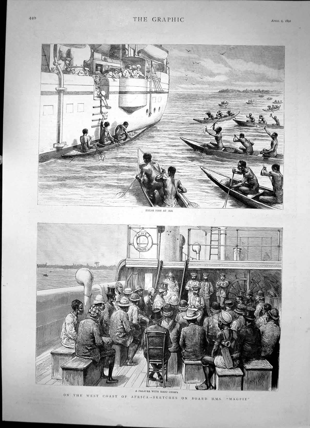 [Print On West Coast Africa Sketches On Board Hms Magpie Fishing 1892 416J678 Old Original]