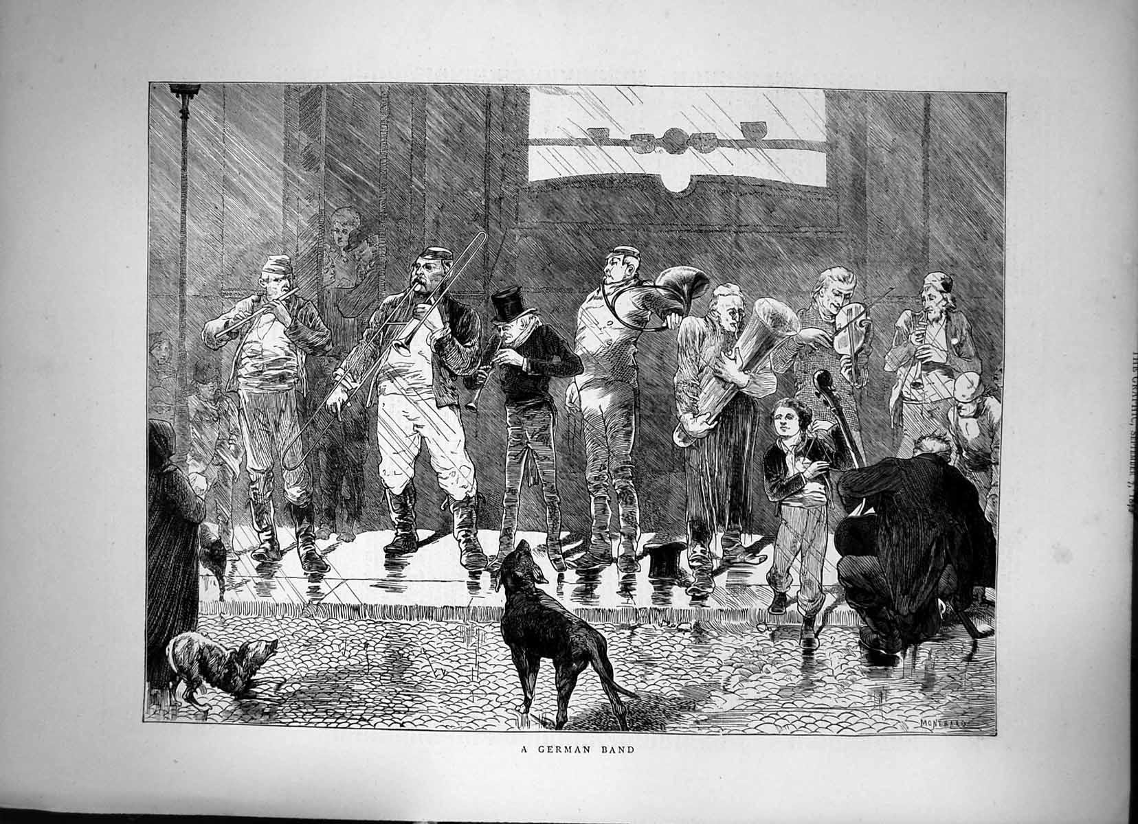[Print A German Band Musical Instruments On Stage Dogs Barking 1872 480J678 Old Original]