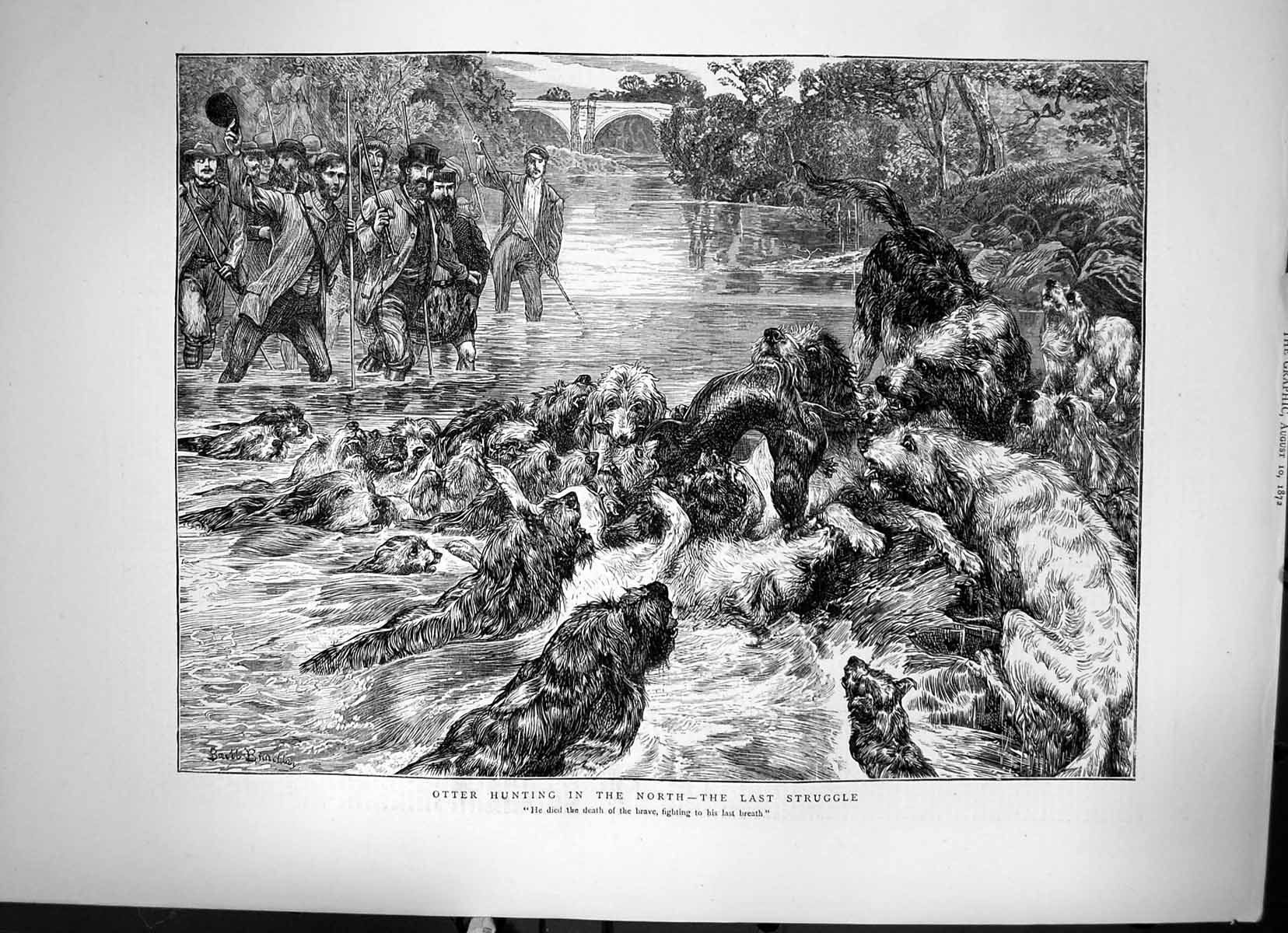 [Print Otter Hunting In The North The Last Struggle Dogs Killing 1872 599J678 Old Original]