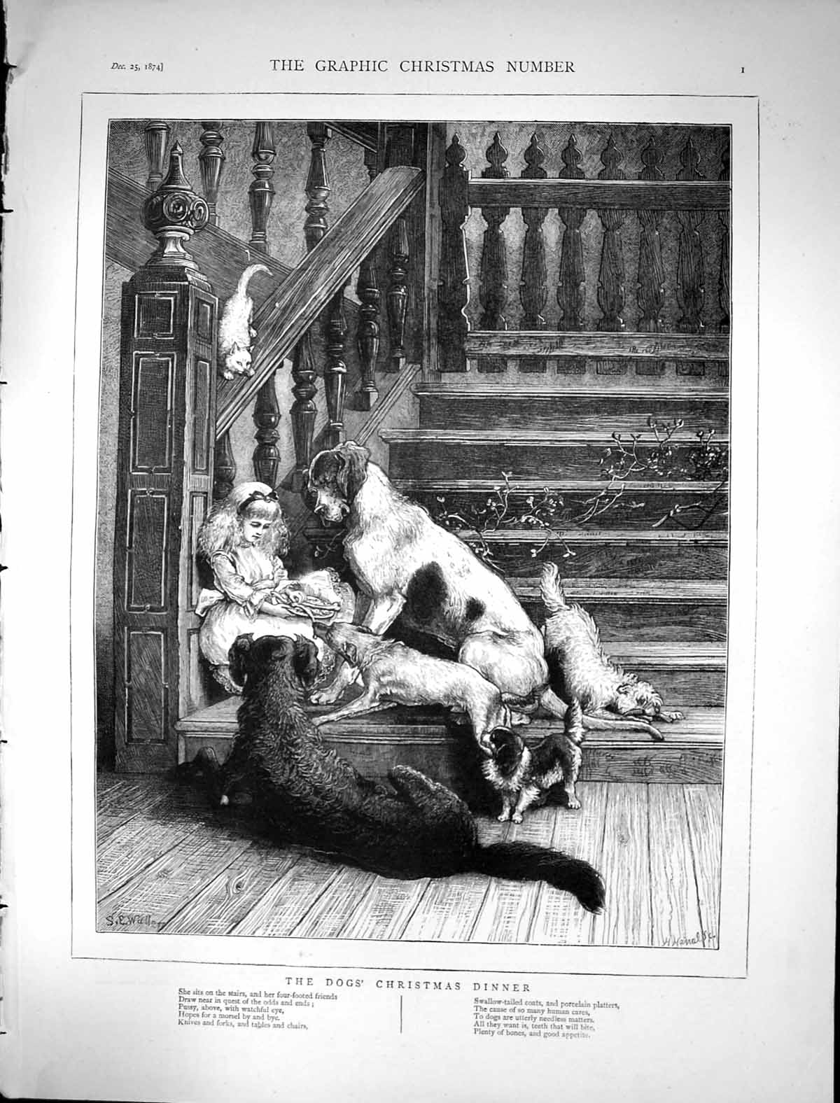[Print 1874 Dogs Christmas Dinner Young Girl Sitting House Stairs Animal 799J679 Old Original]