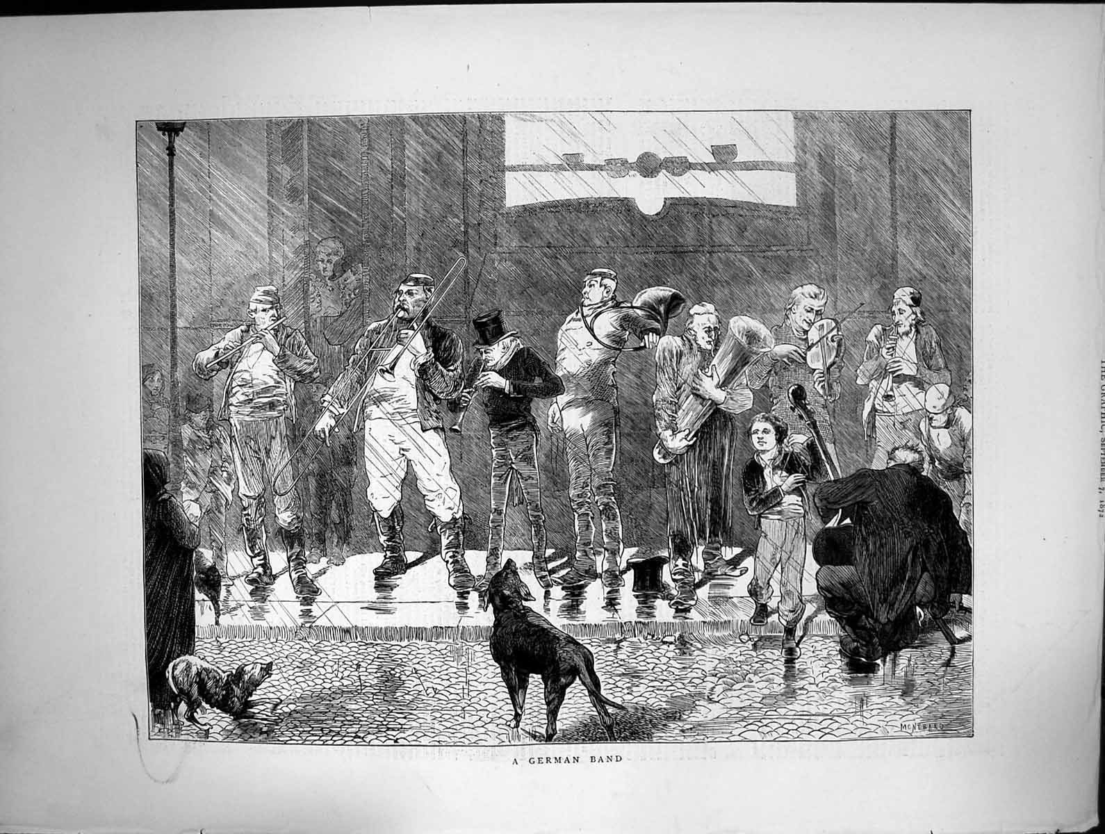 [Print German Band Playing Street Dogs Trumpet Violin Flute 1872 162J680 Old Original]