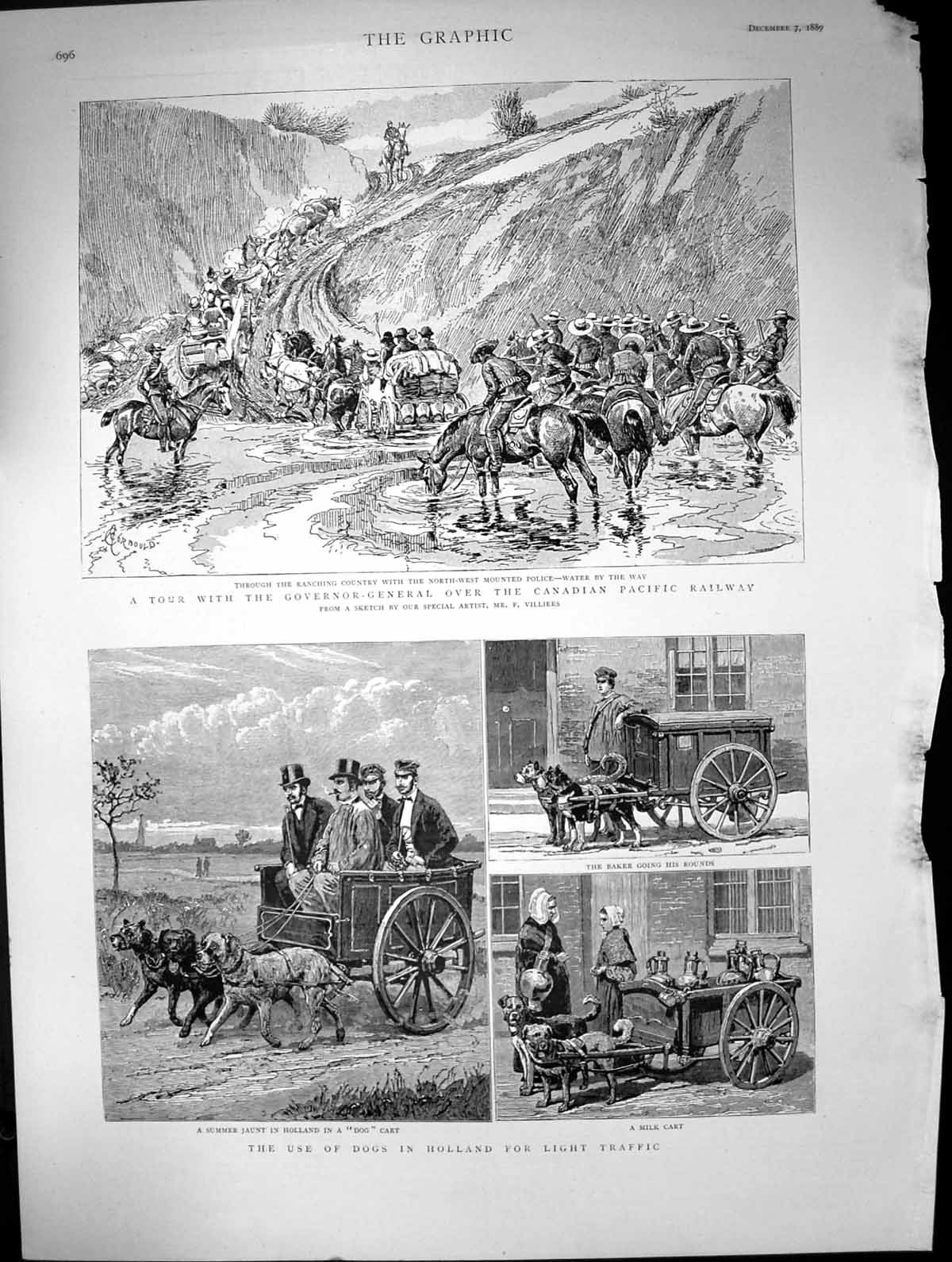 [Print Tour Canadian Pacific Railway Dogs Travel Holland 1889 306J680 Old Original]