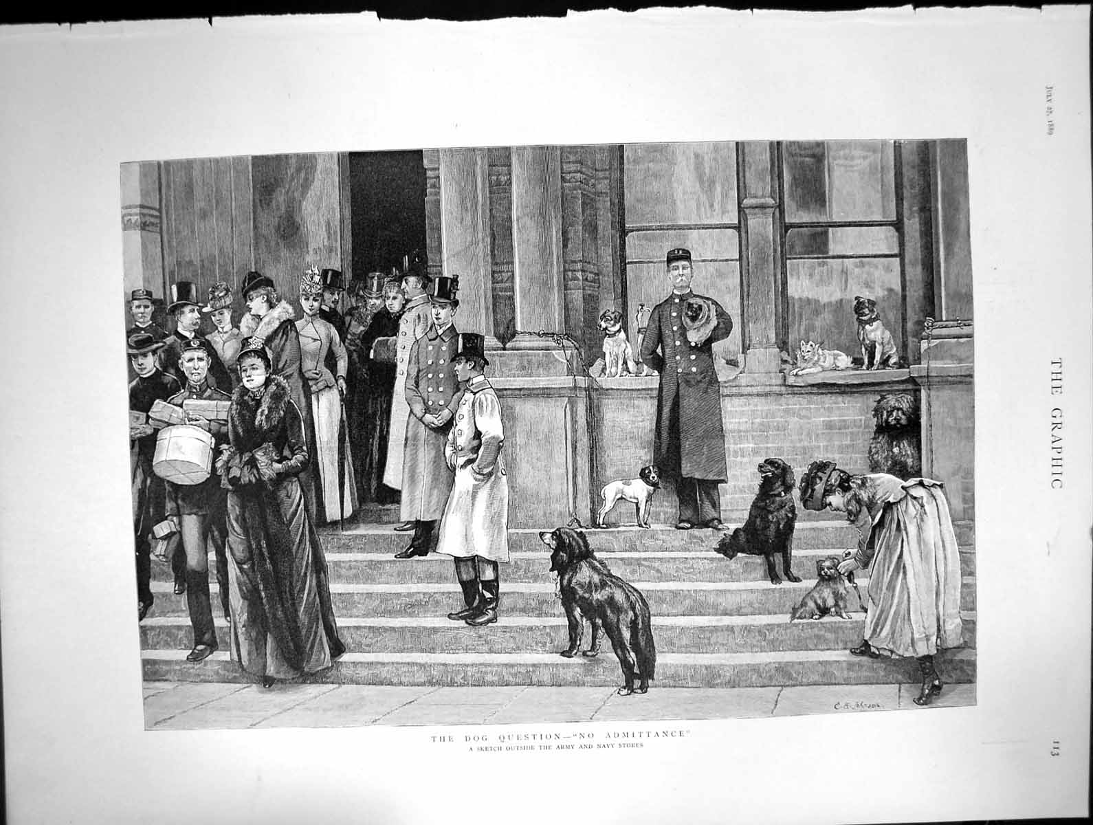 [Print Dog Question No Admittance Outside Army Navy Stores 1889 314J680 Old Original]
